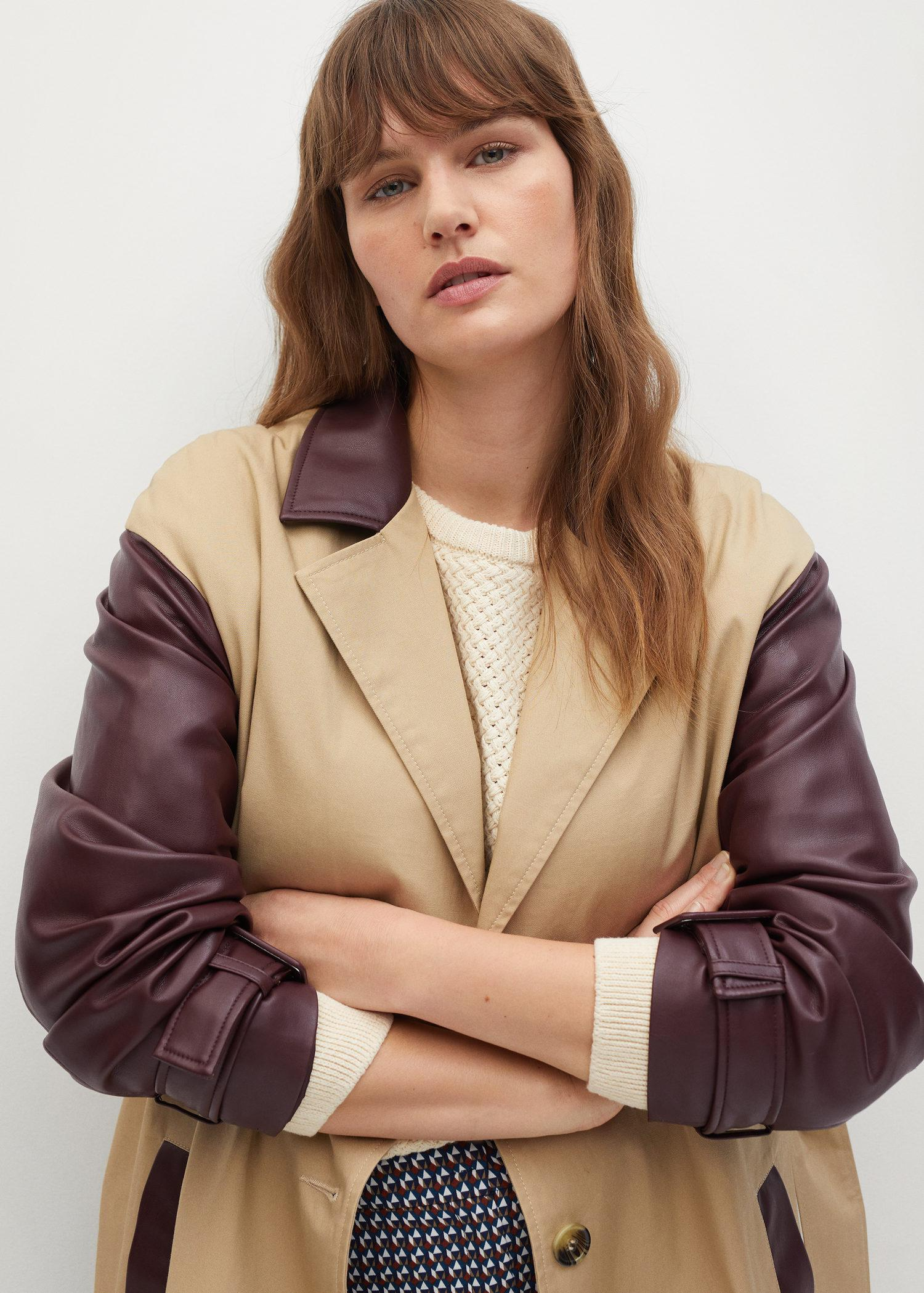 Combined leather-effect trench coat 3