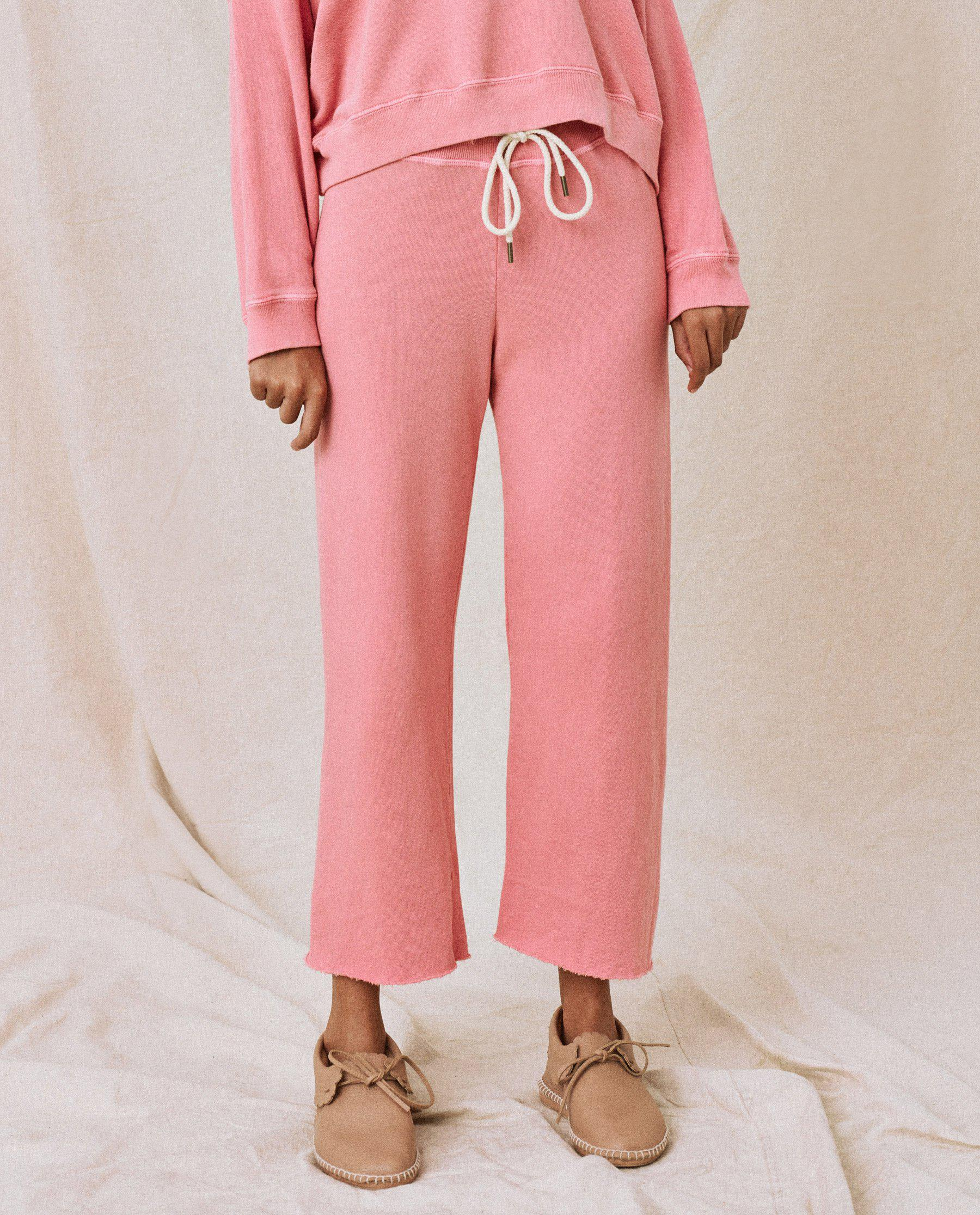 The Wide Leg Cropped Sweatpant. -- Tahitian Pink