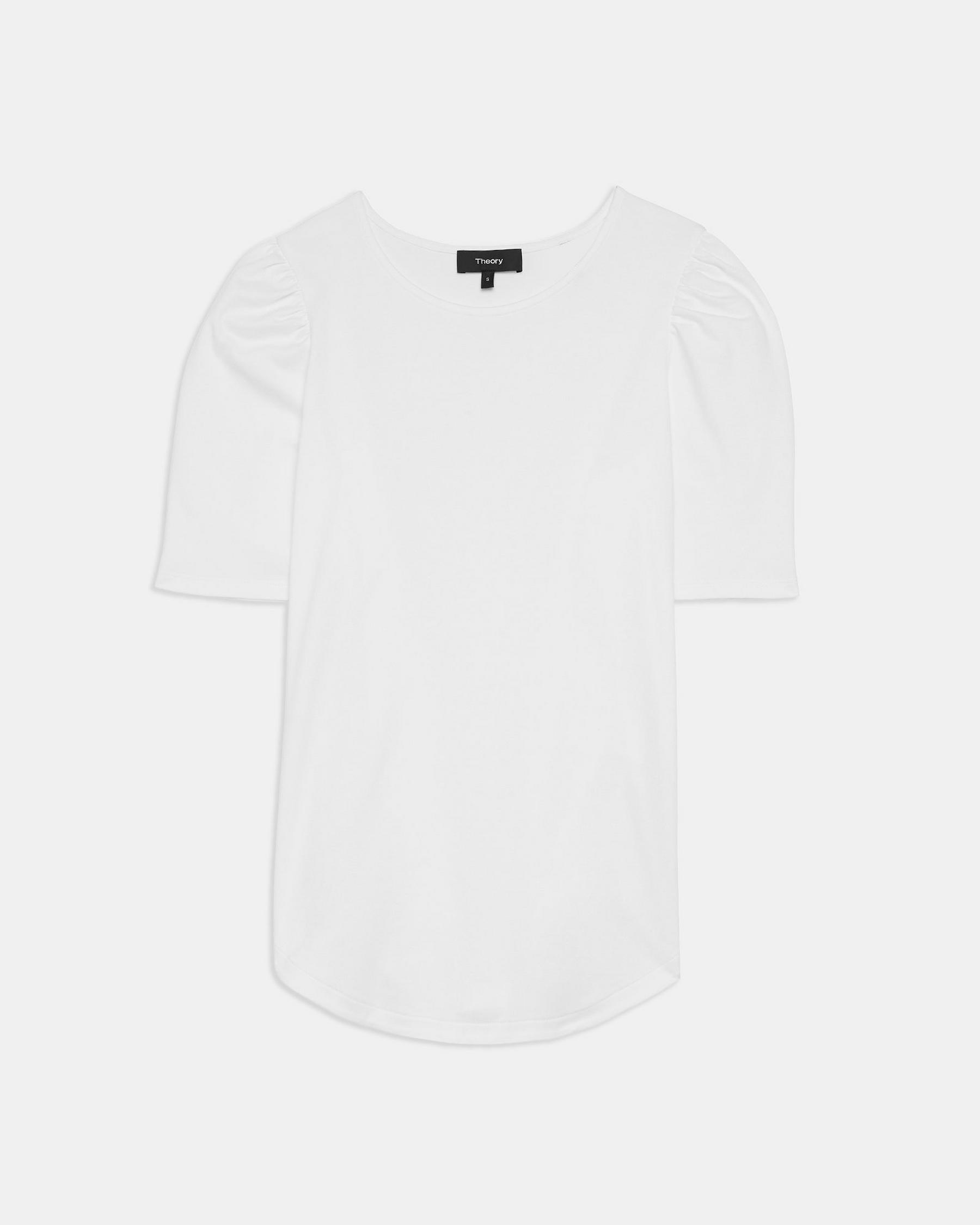 Short-Sleeve Ruched Tee in Cotton Jersey 4