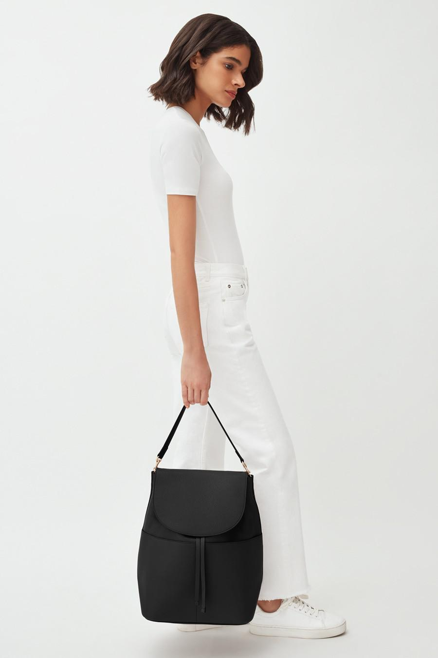 Women's Large Leather Backpack in Black | Pebbled Leather by Cuyana 6