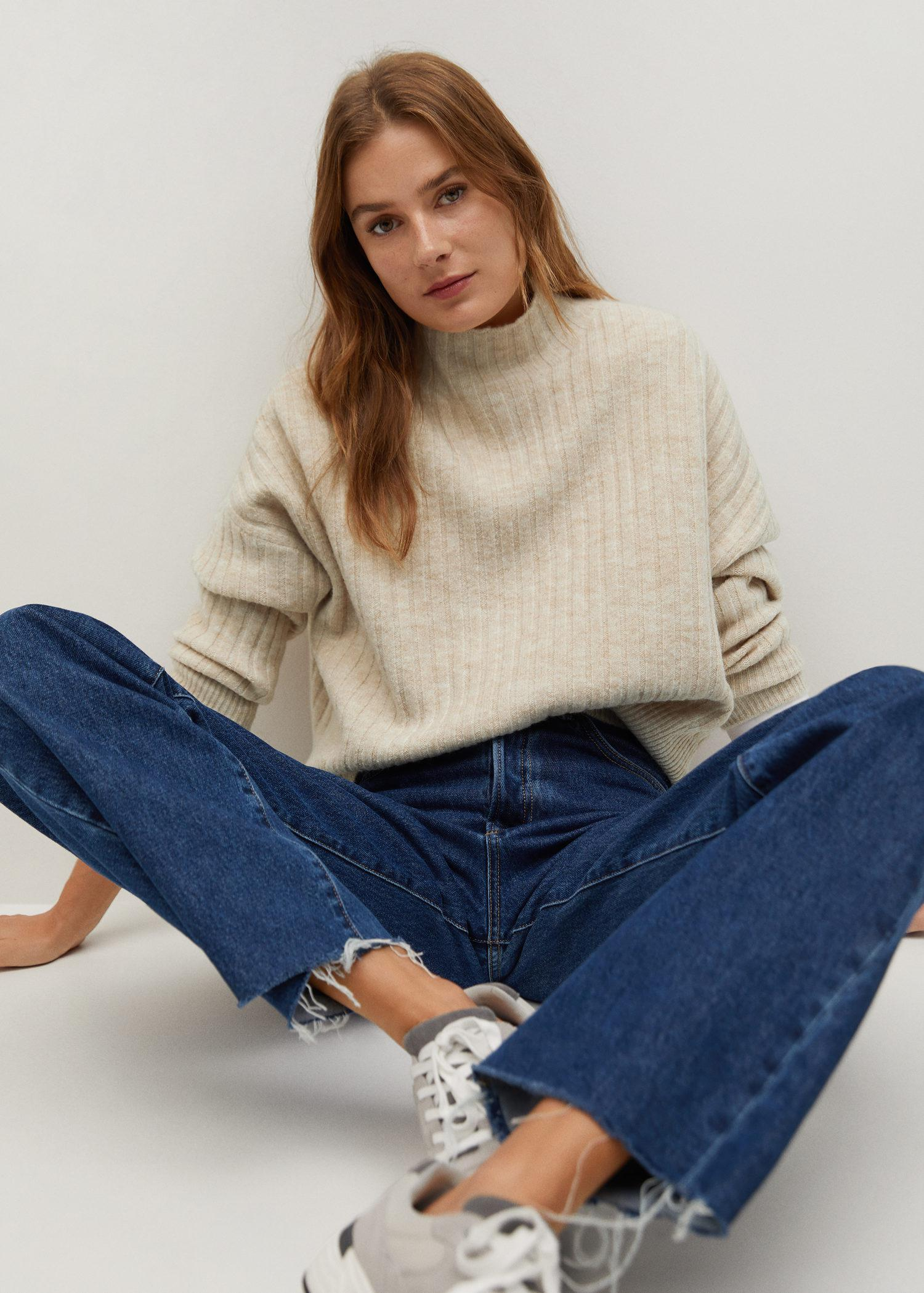 High collar ribbed knit sweater 4