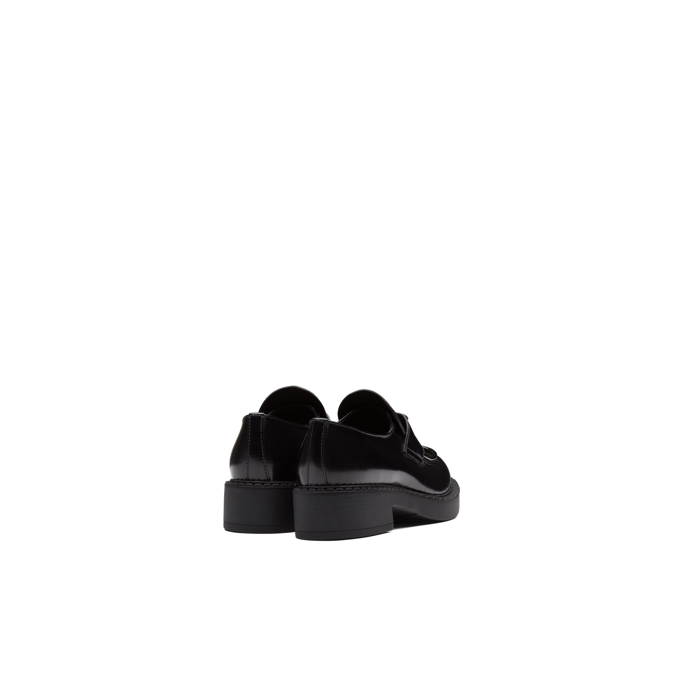 Brushed Leather Loafers Women Black 3