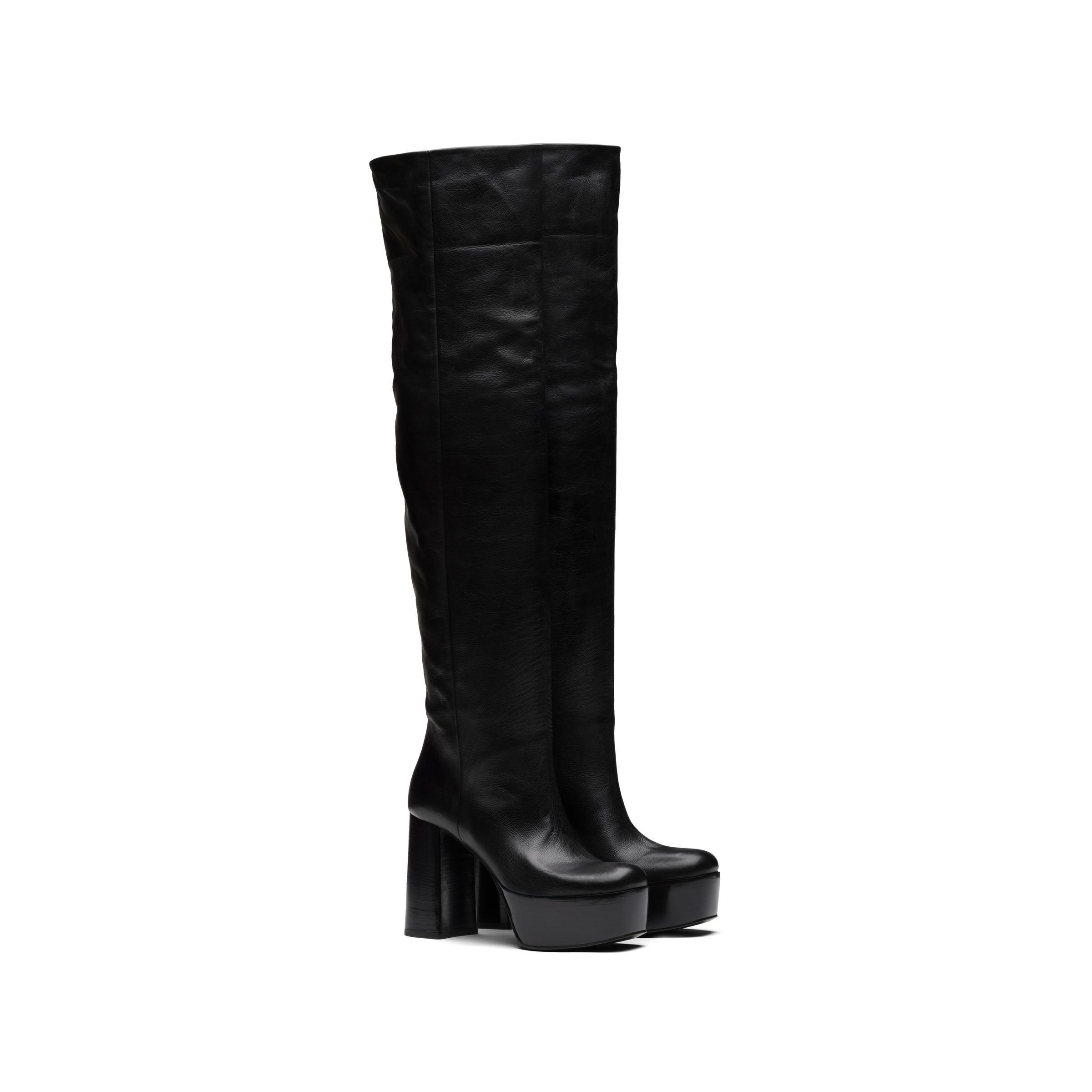 Leather Boots Women Black
