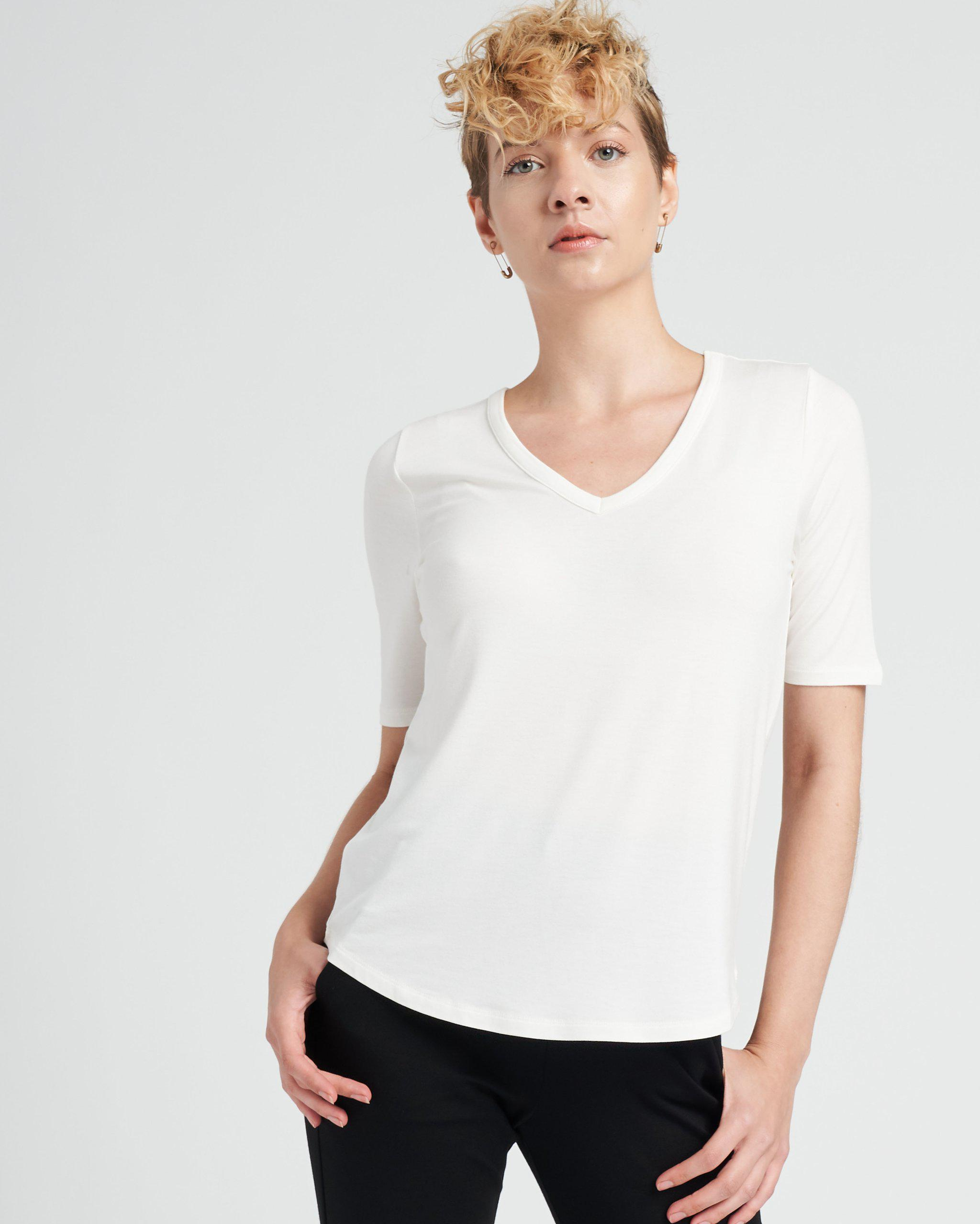 Lily Liquid Jersey V-Neck Stovepipe Tee