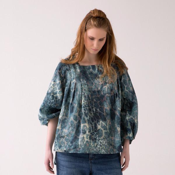 Sue Pleated front, Square Neck blouse 1
