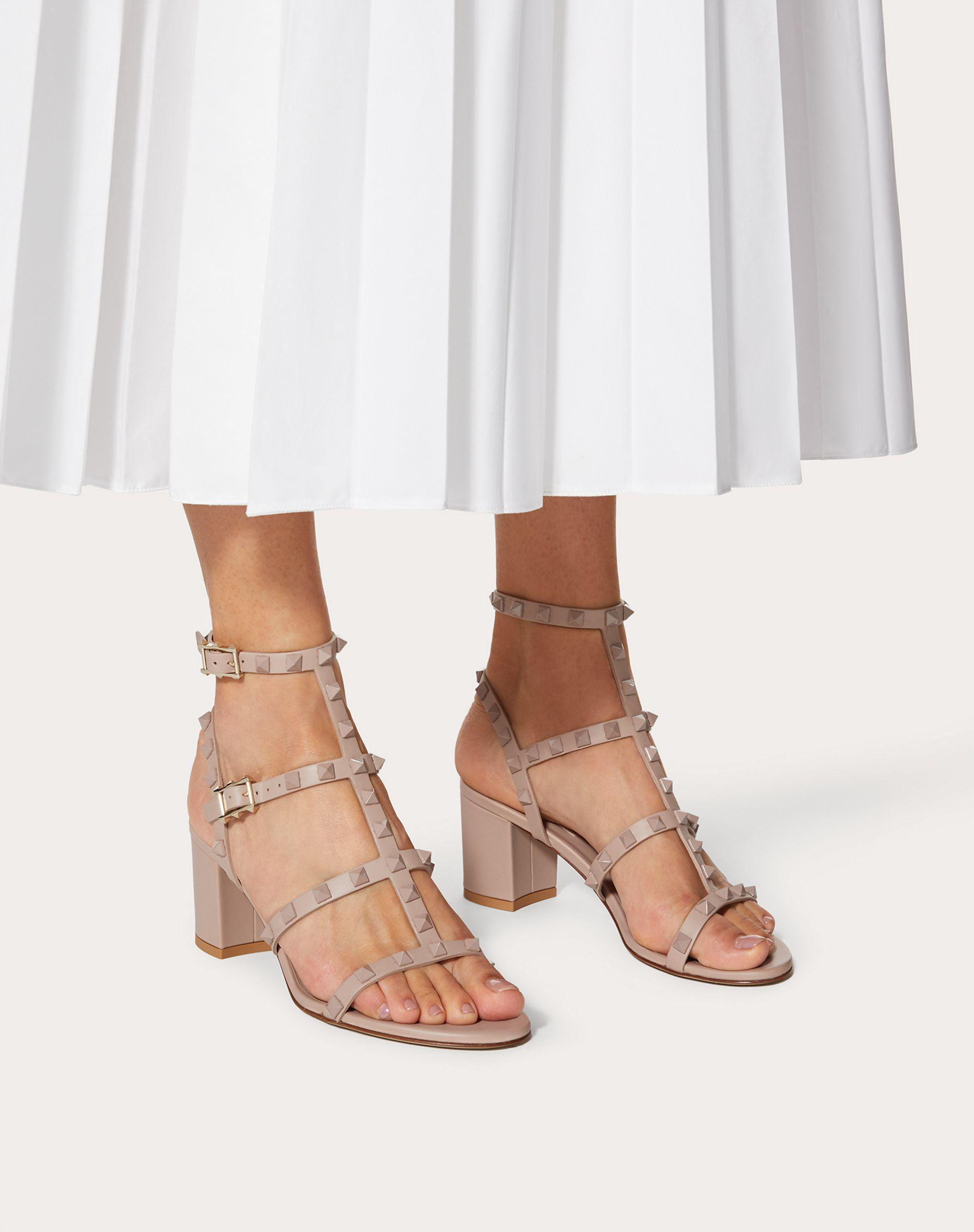 Rockstud Ankle Strap Calfskin Leather Sandal with Tonal Studs 60 mm 5