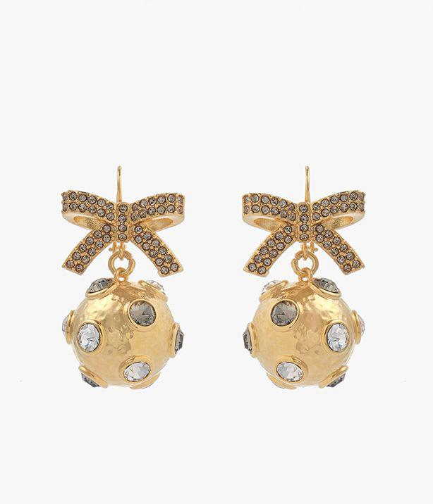 Crystal Bow And Ball Earrings