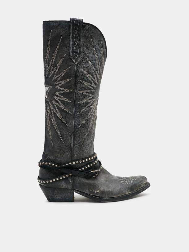 Wish Star boots in leather with studded strap