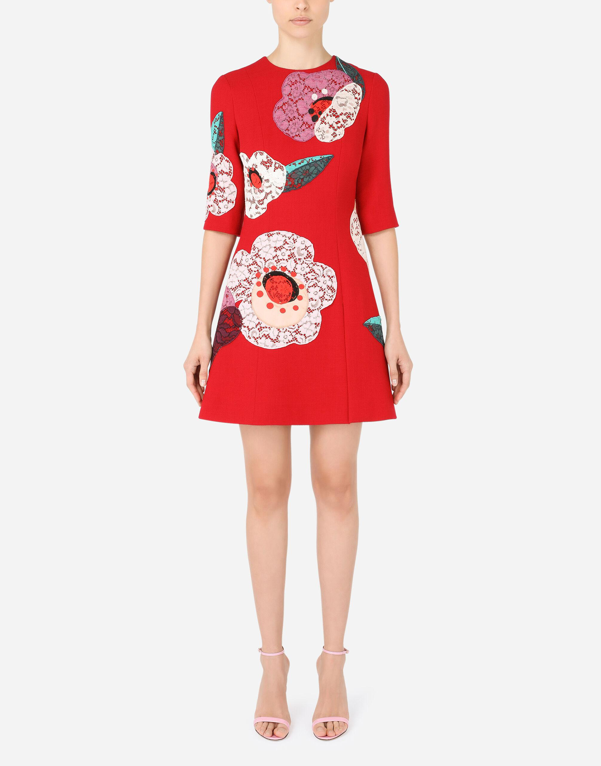 Short crepe dress with floral patches