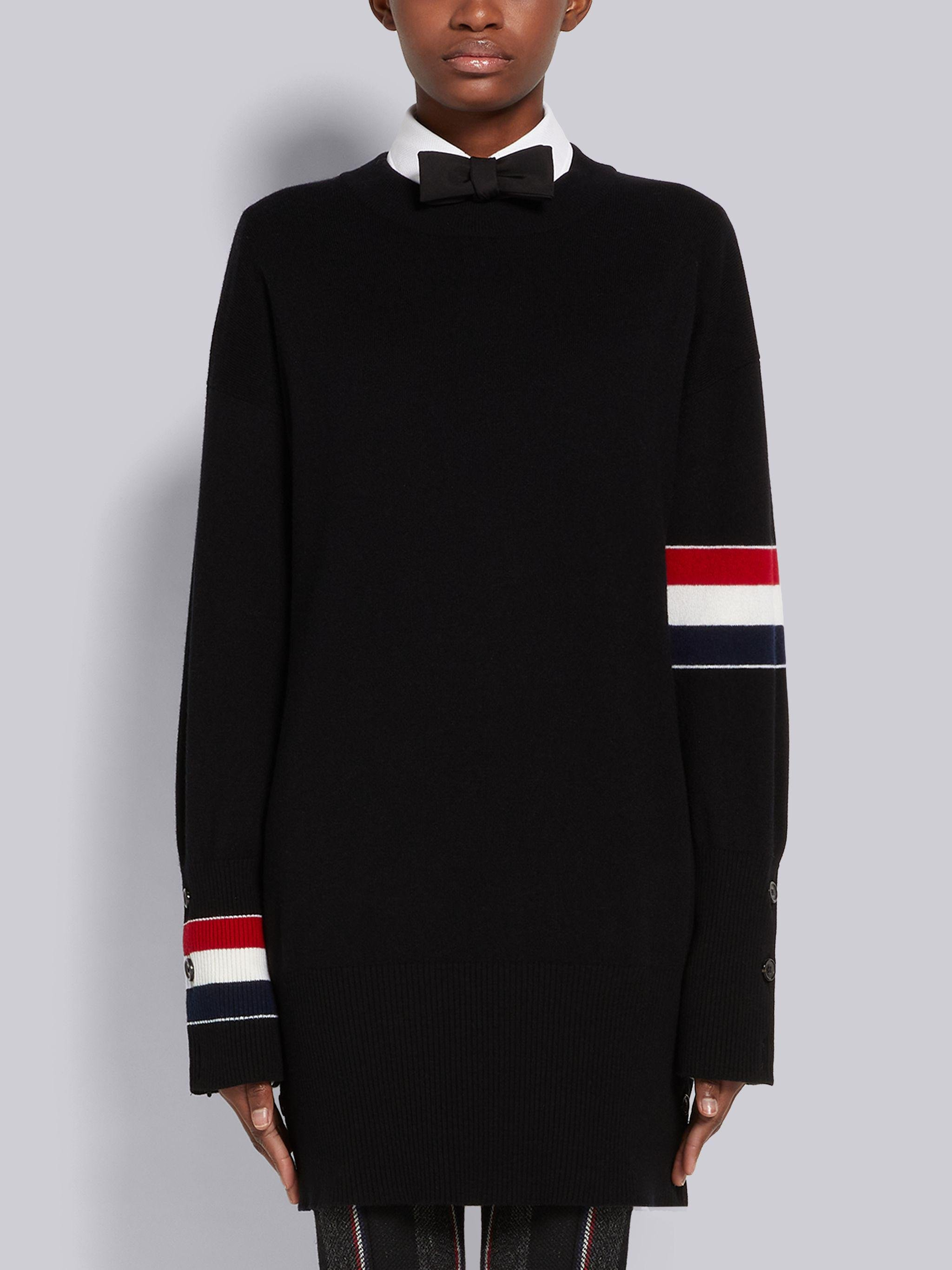 Black Jersey Stitch Cashmere Stripe Armband and Cuff Exaggerated Fit Pullover