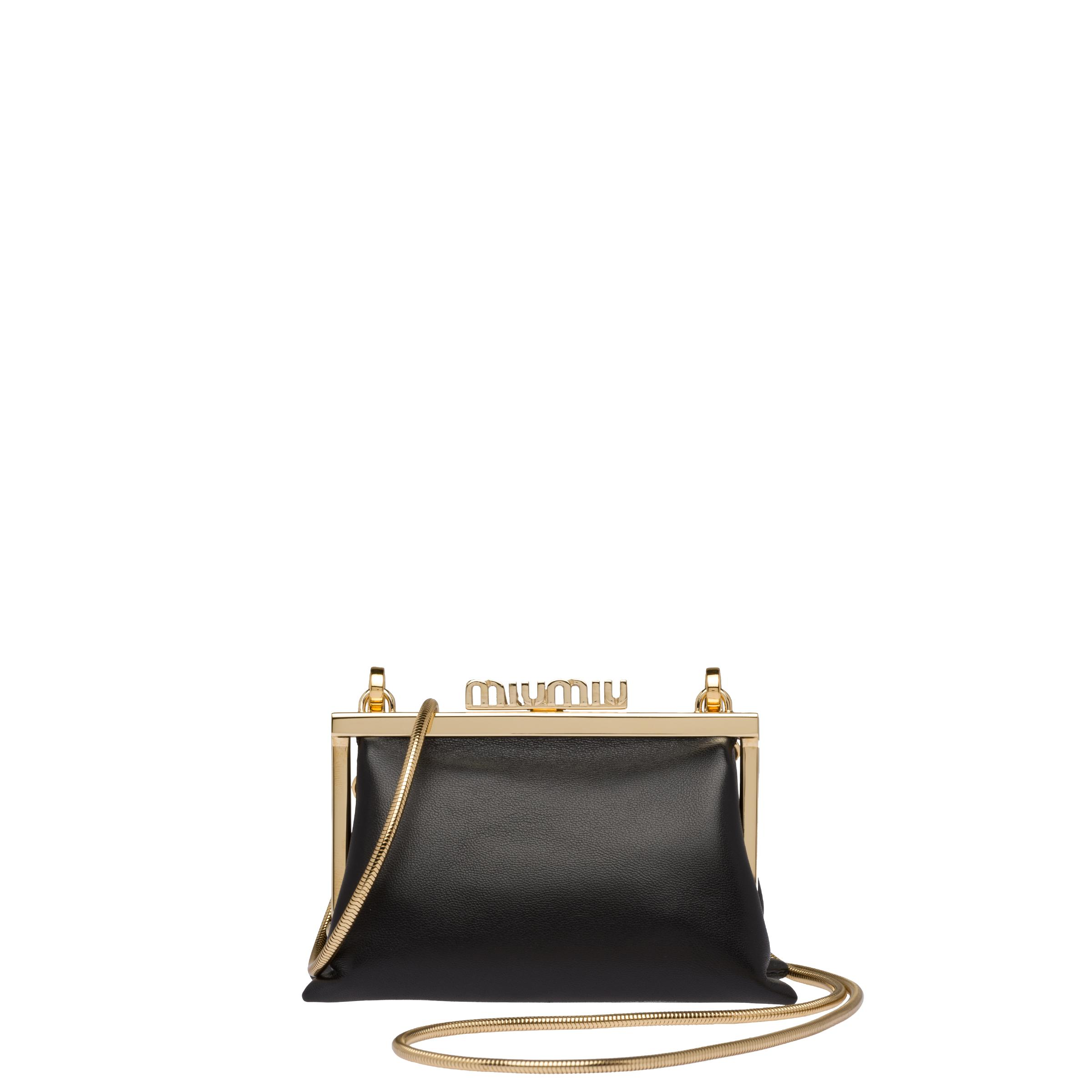 Nappa Leather Wallet With Shoulder Strap Women Black
