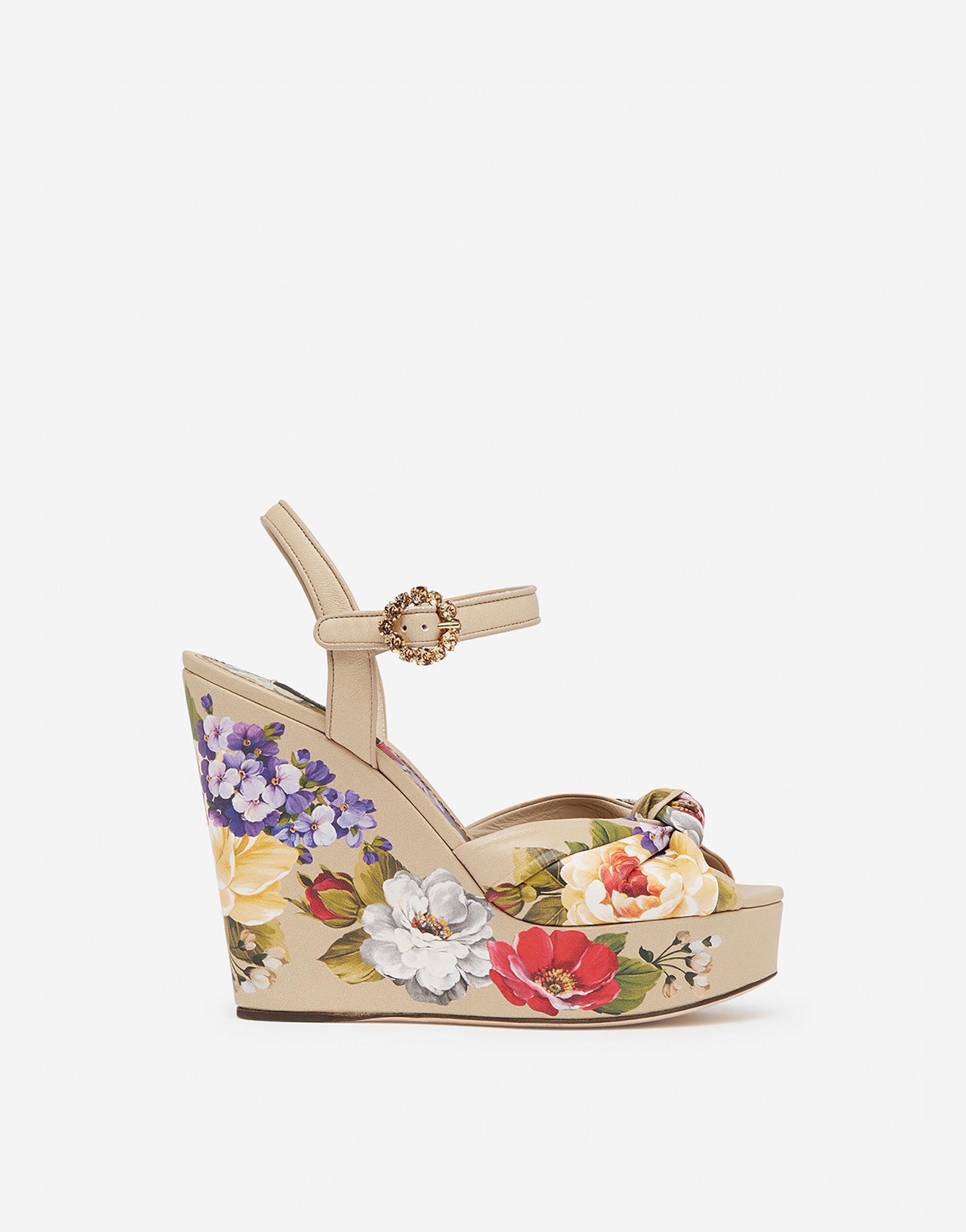 Nappa leather wedge sandals with floral print