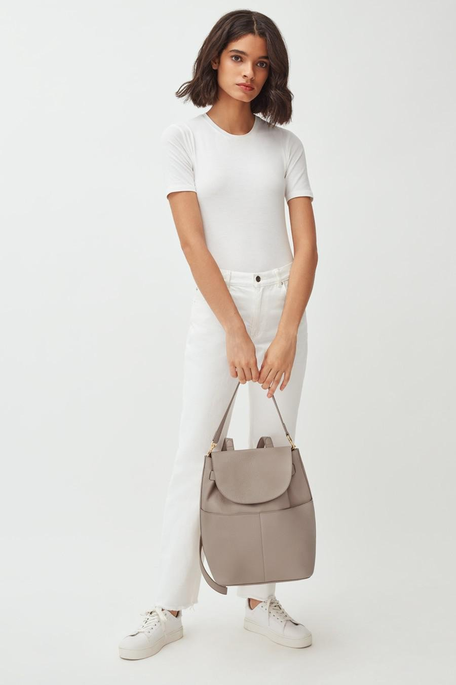 Women's Leather Backpack in Stone   Pebbled Leather by Cuyana 6