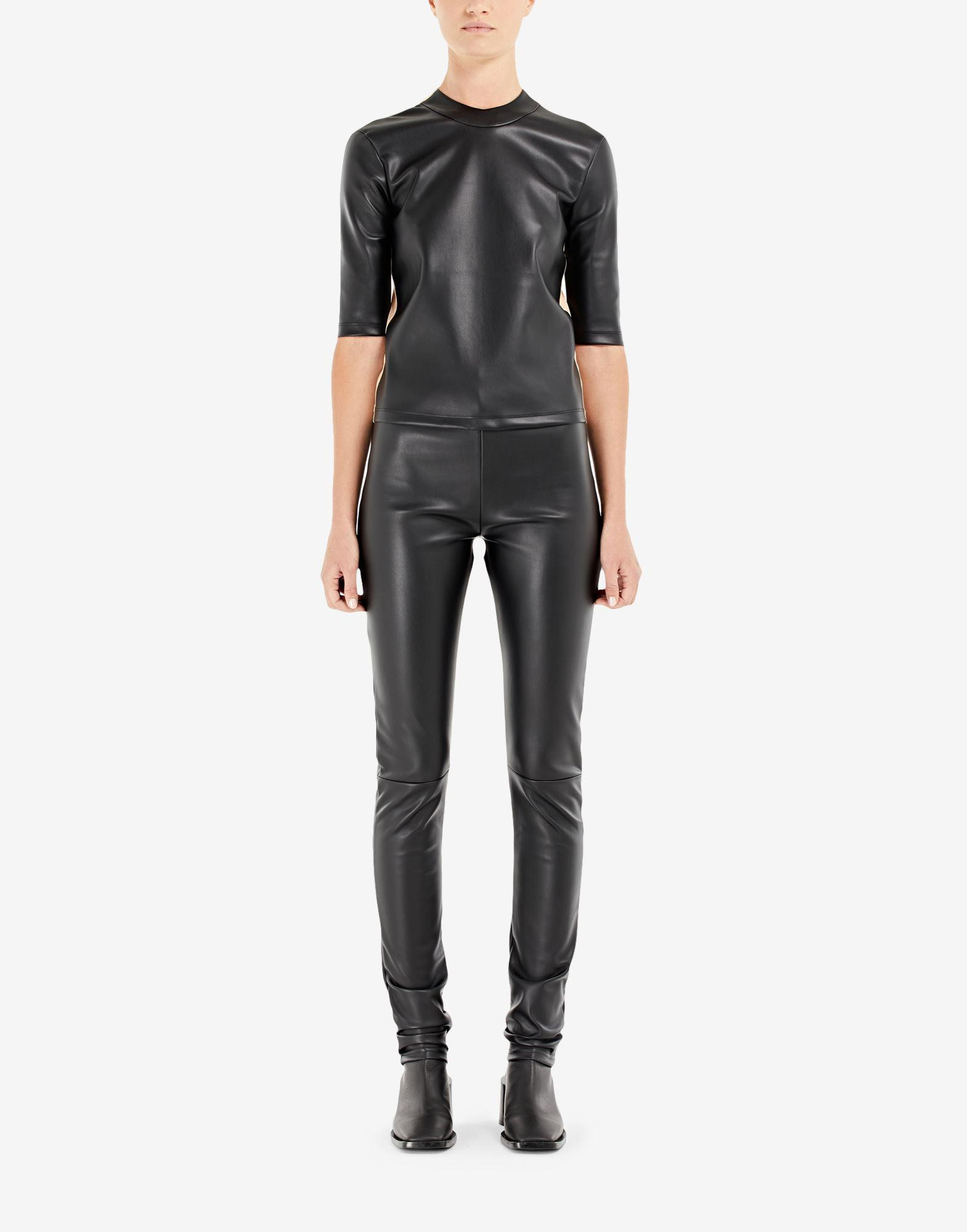 Spliced faux leather top