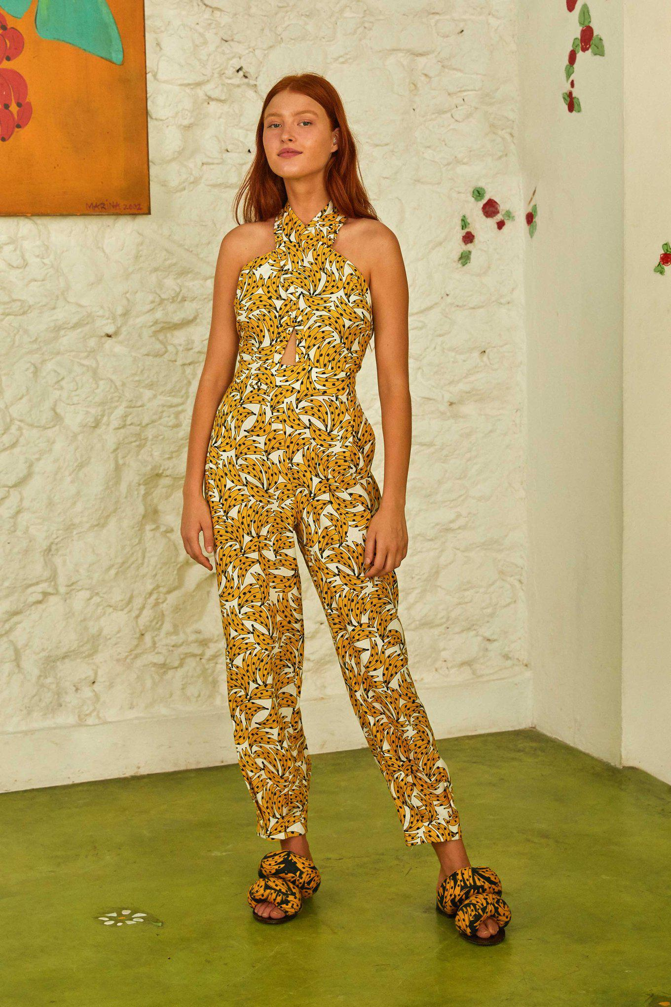 White Spotted Bananas Jumpsuit 1