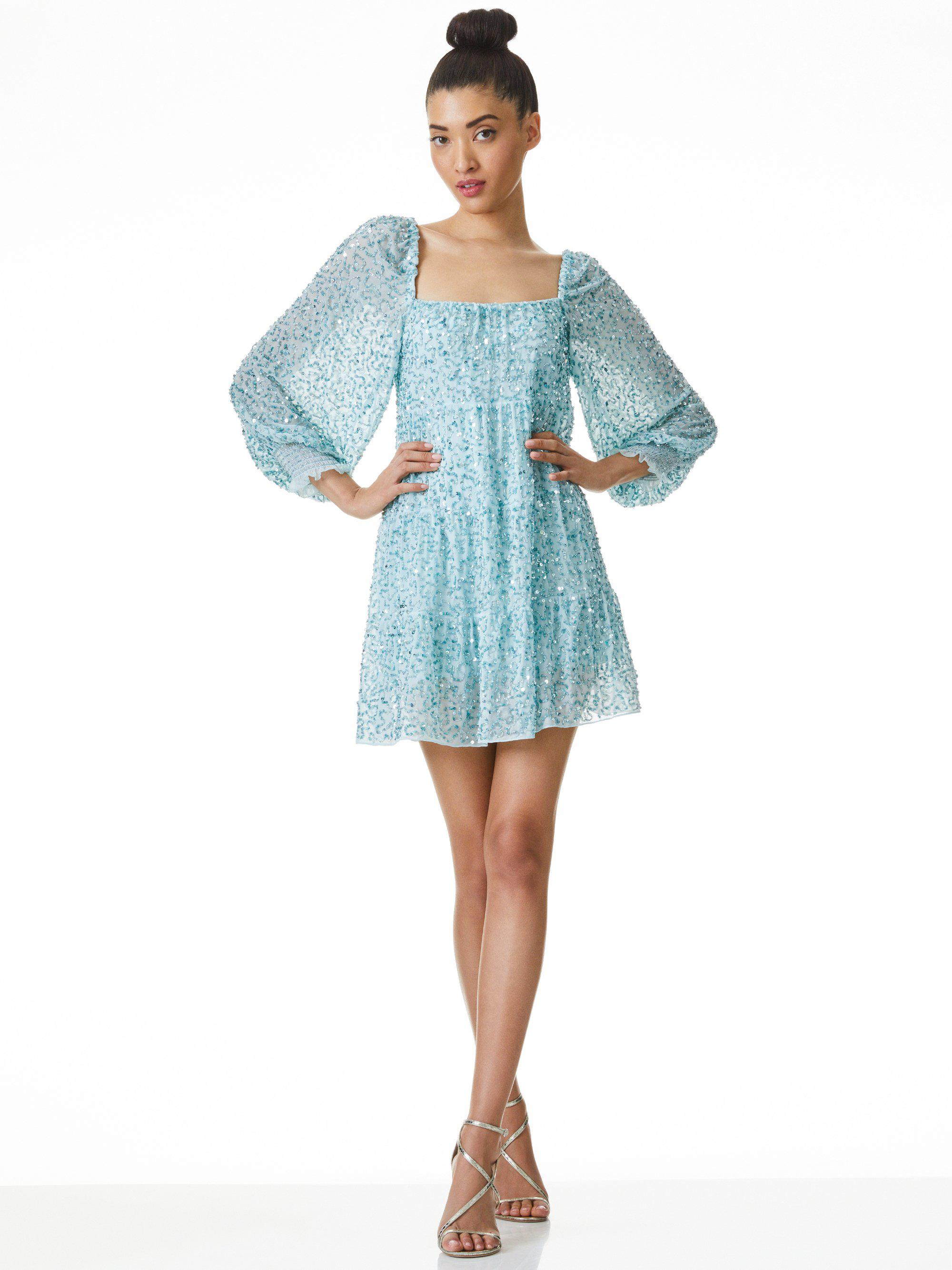 ROWEN SEQUIN EMBROIDERED MINI DRESS 0