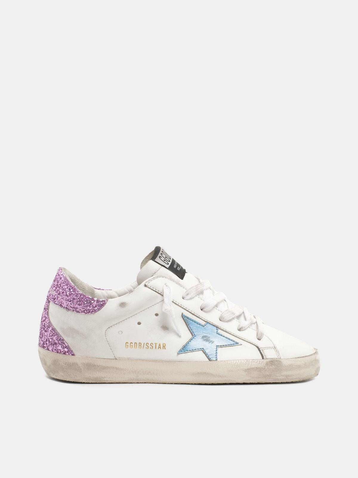 Super-Star sneakers with lavender glitter heel tab and light-blue metallic leather star