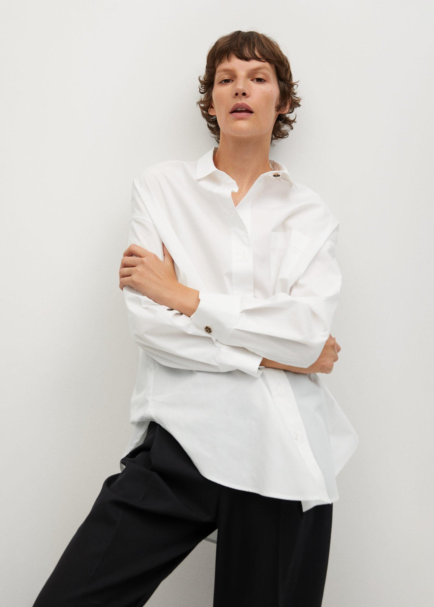 Cotton shirt with jewel buttons