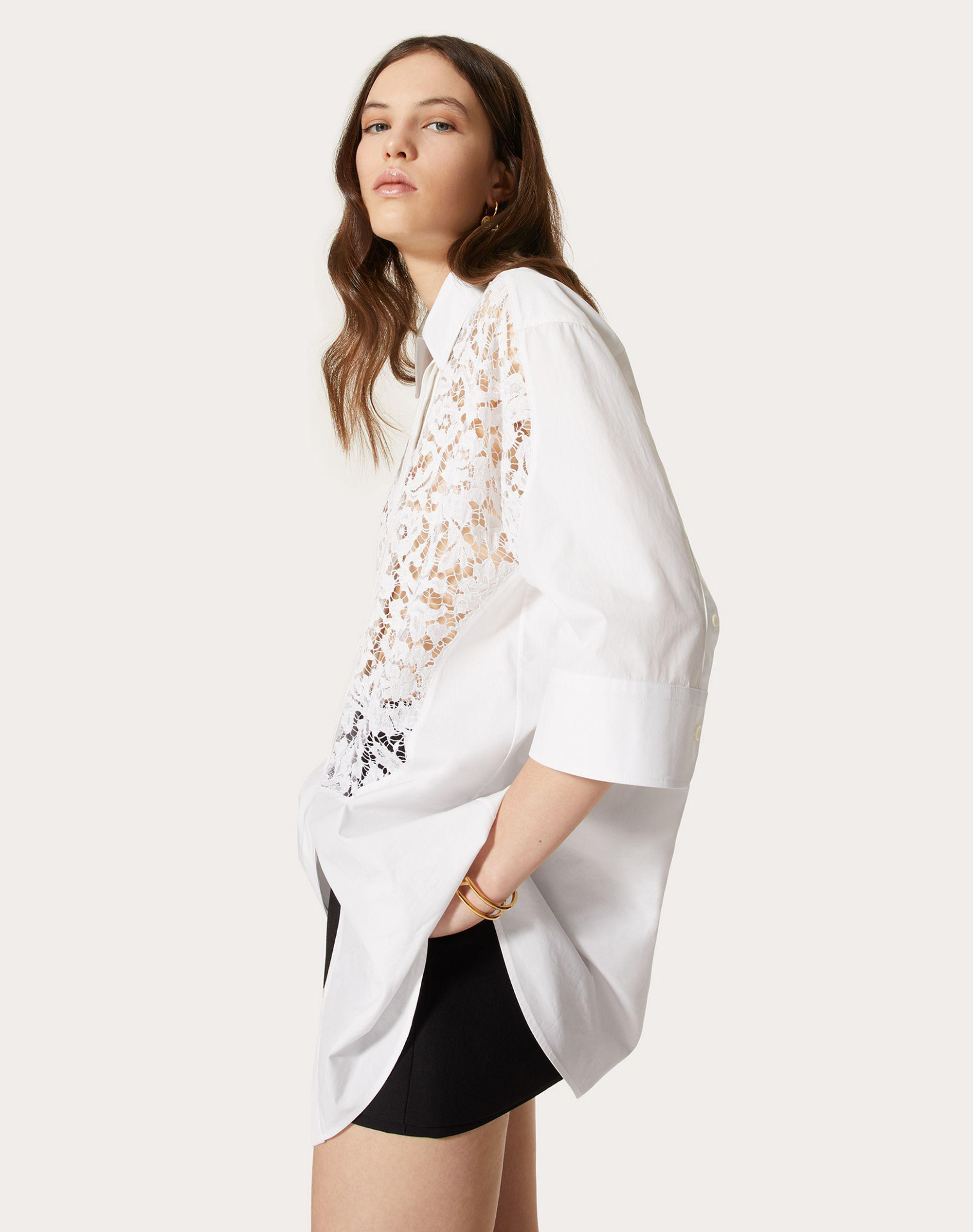 COTTON POPLIN AND HEAVY LACE SHIRT 3