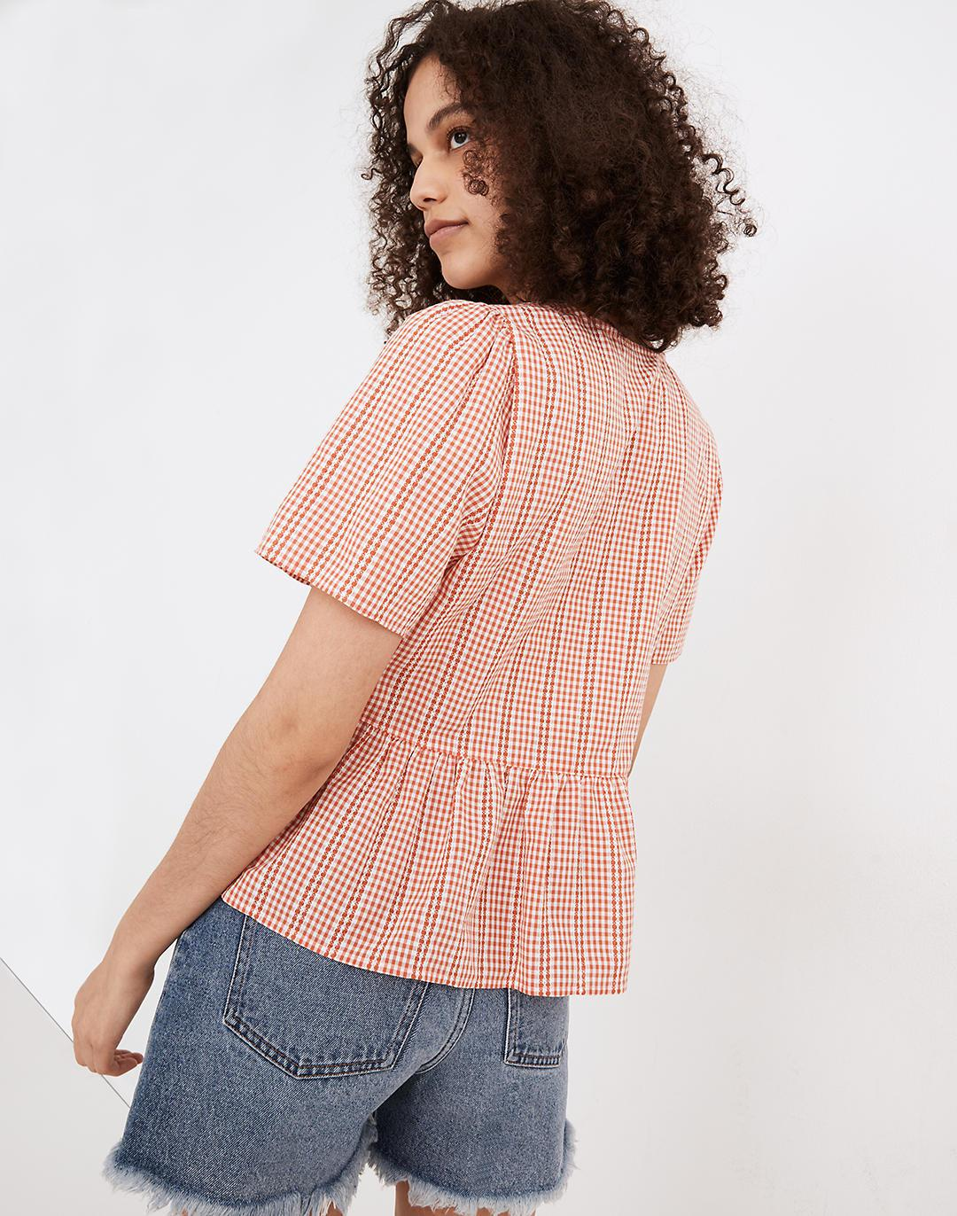 Crossover Peplum Top in Textured Gingham Check 2