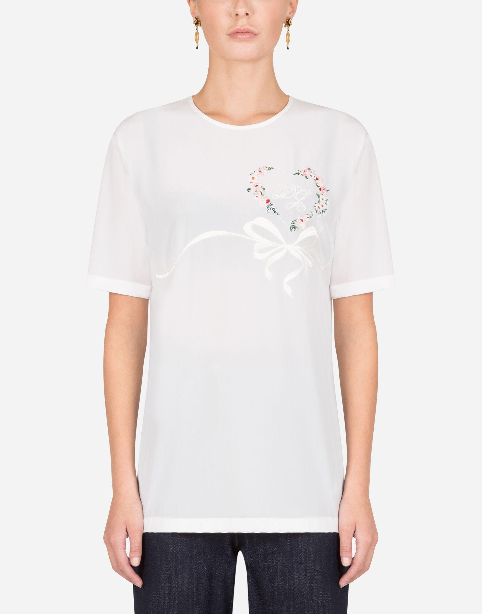 Crepe de chine top with embroidery