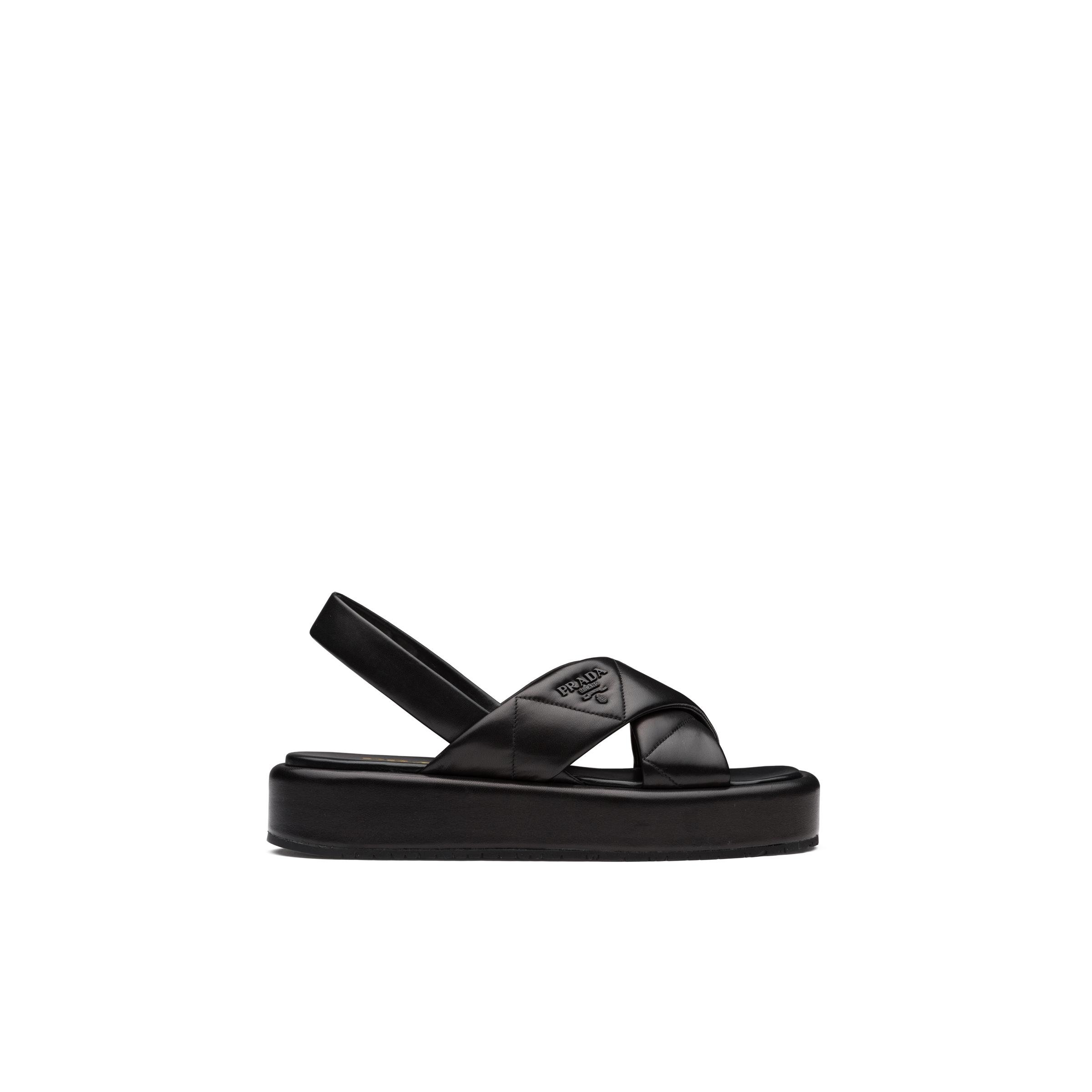 Quilted Nappa Leather Flatform Sandals Women Black 2