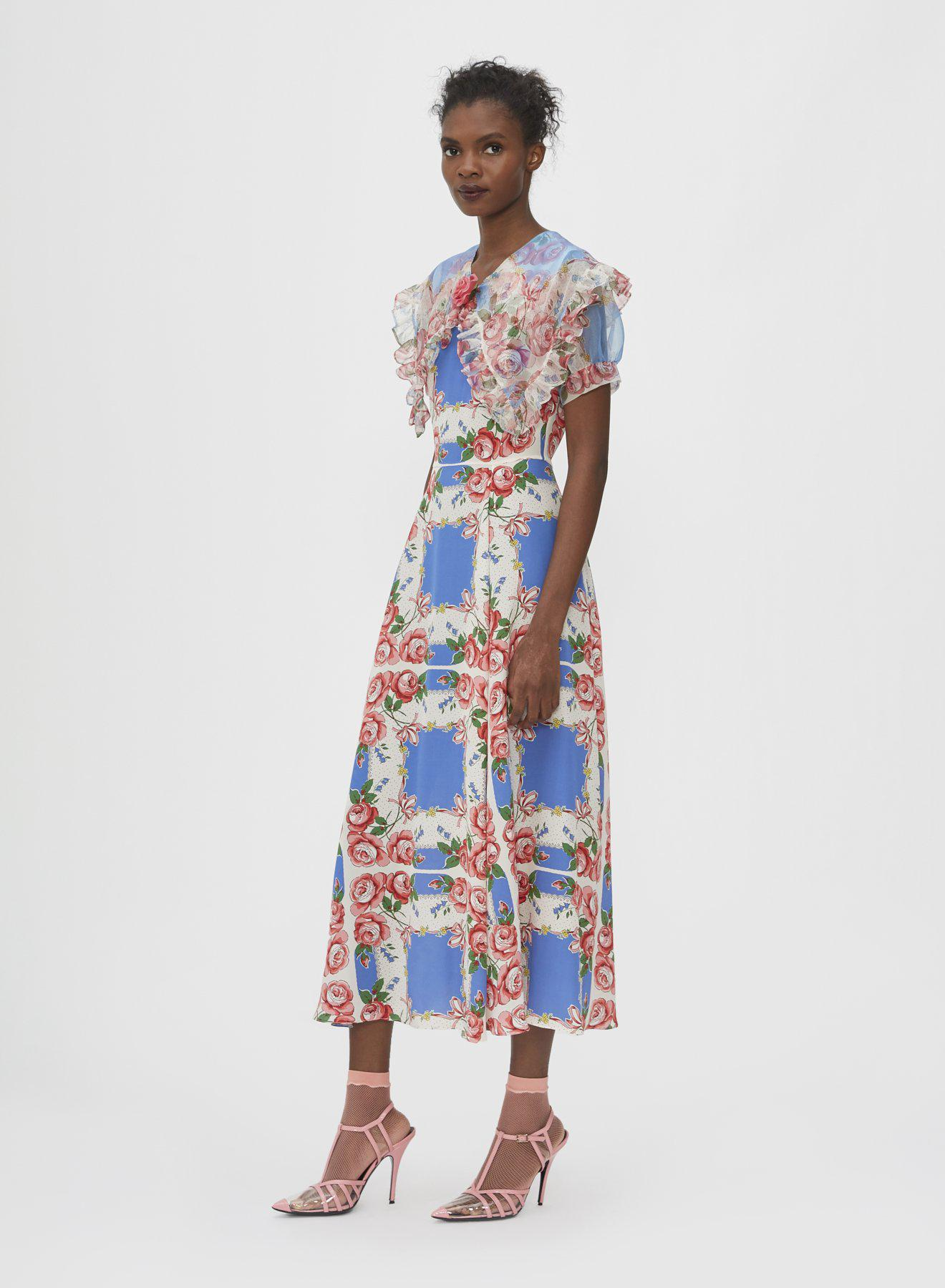 FLORAL PRINTED SILK DRESS WITH RUFFLE COLLAR 1
