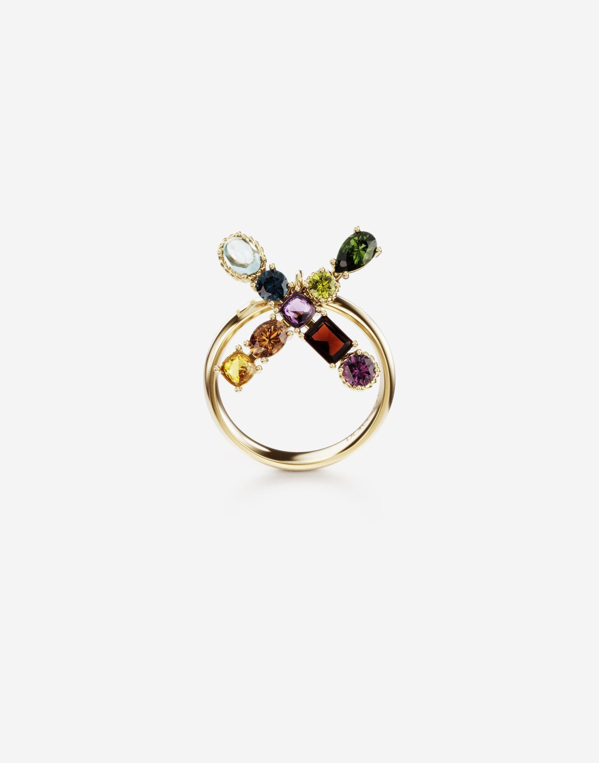 Rainbow alphabet X ring in yellow gold with multicolor fine gems