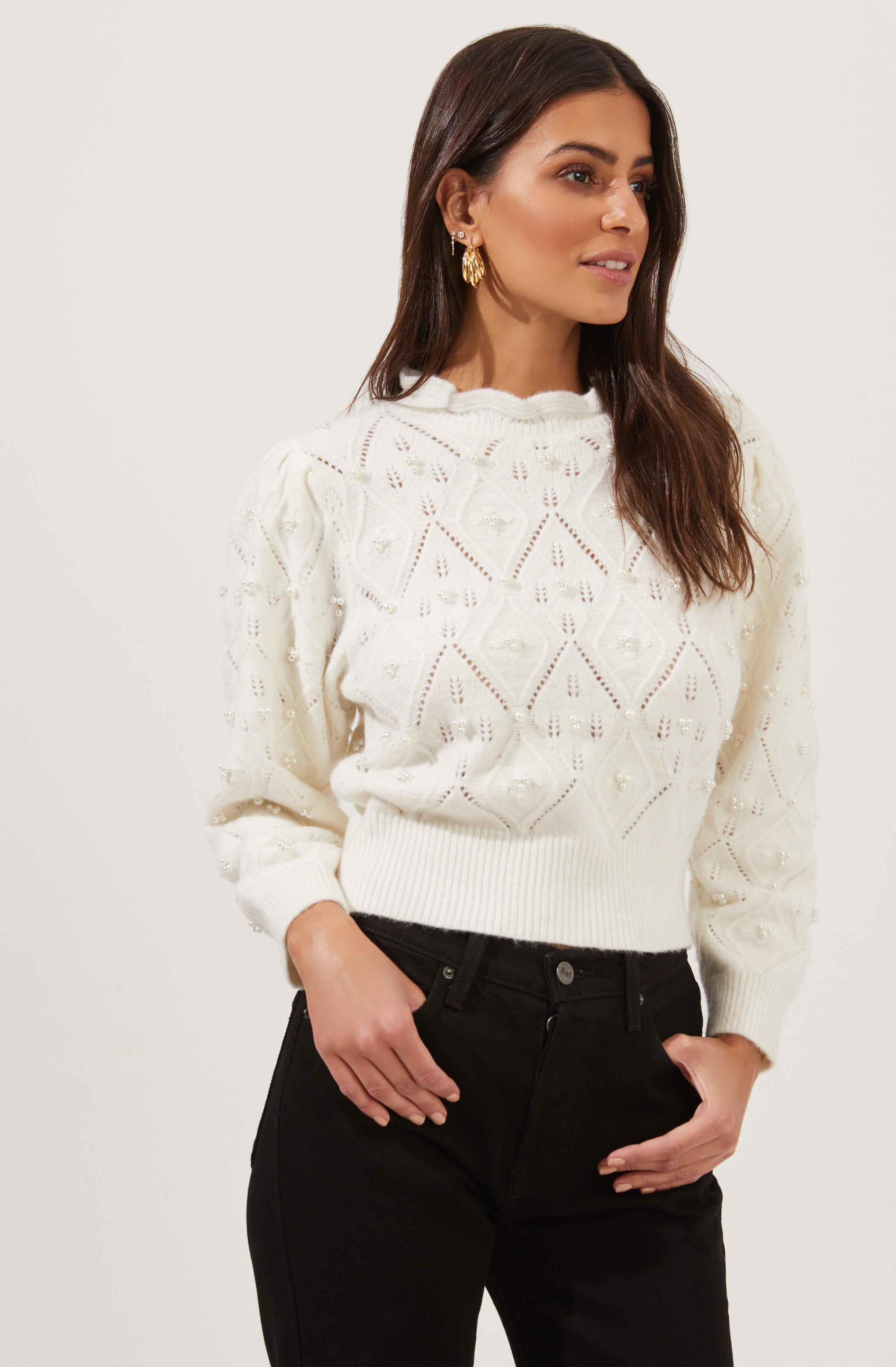 Taya Pearl Embellished Pointelle Frill Neck Sweater