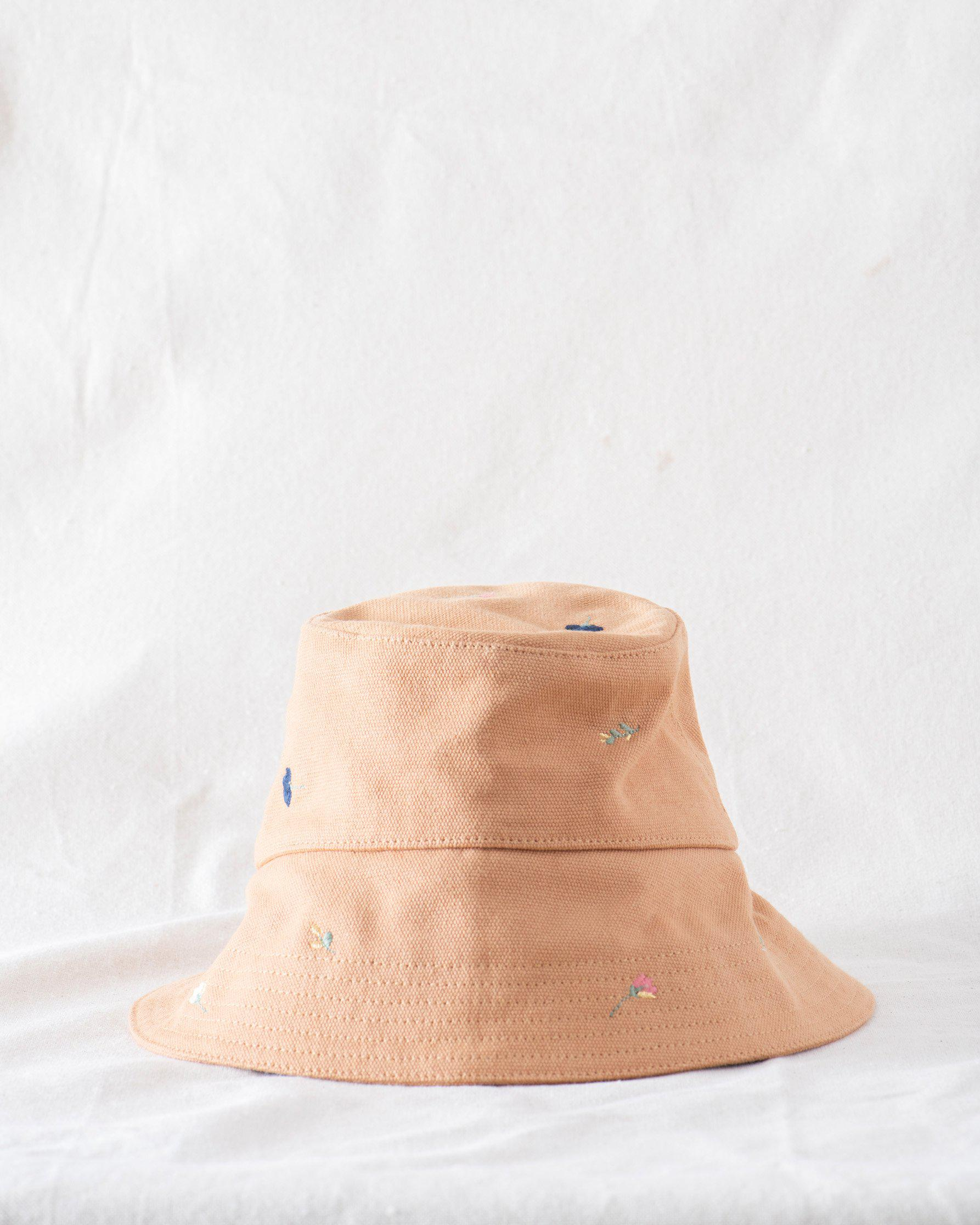 The Bucket Hat. -- Camel with Tossed Floral Embroidery
