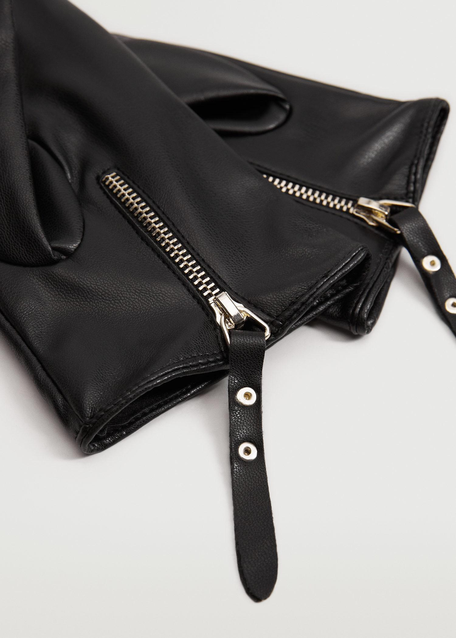 Zip leather-effect gloves