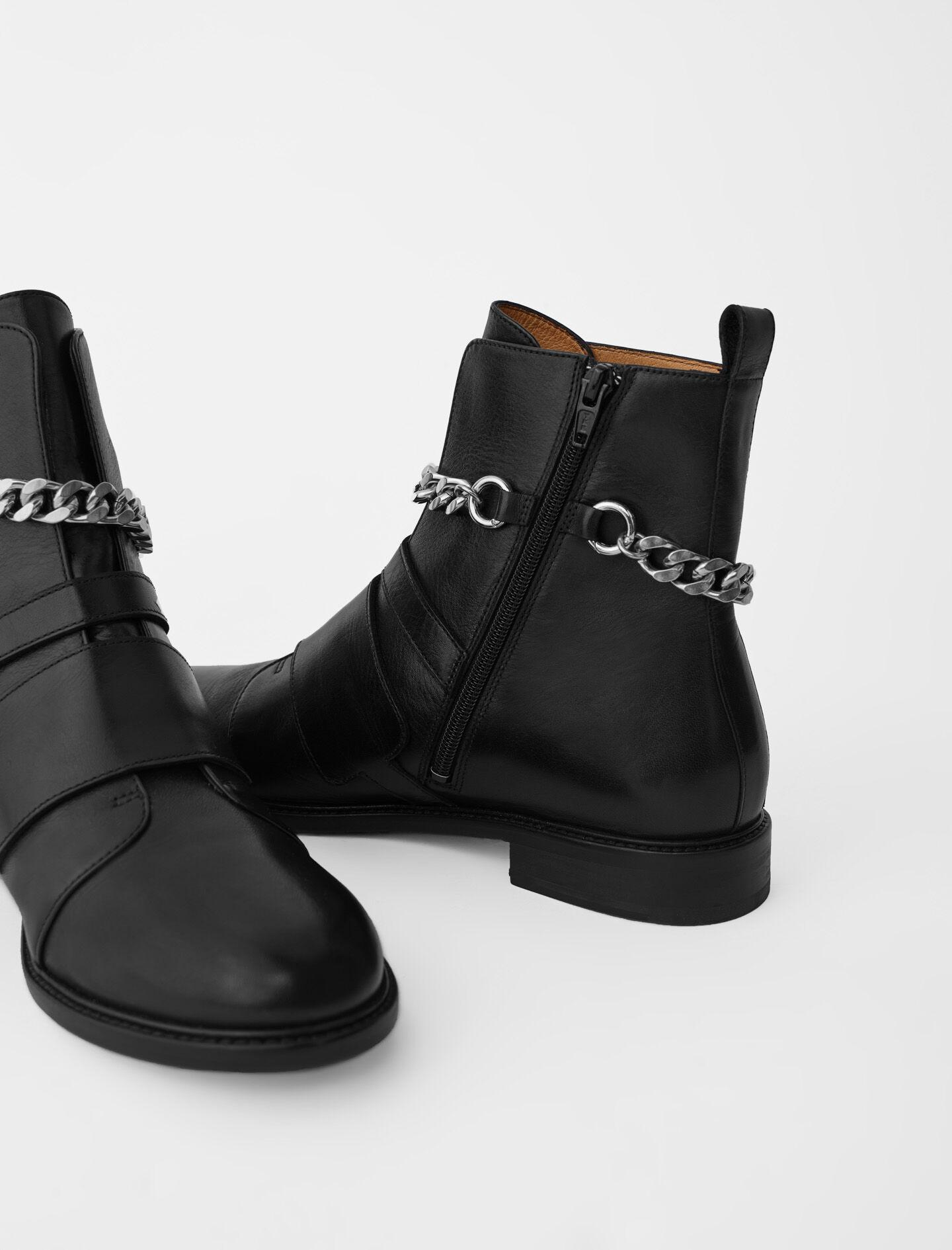 FLAT ANKLE BOOTS WITH STRAPS AND CHAIN 3