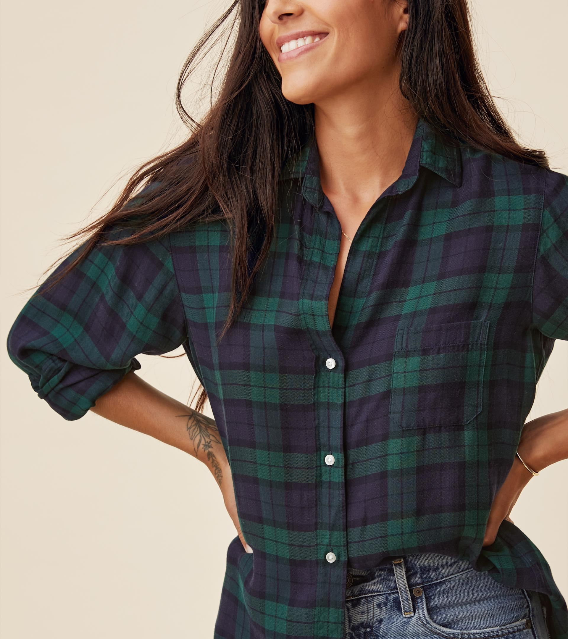 The Hero Navy with Green Plaid, Liquid Flannel 1