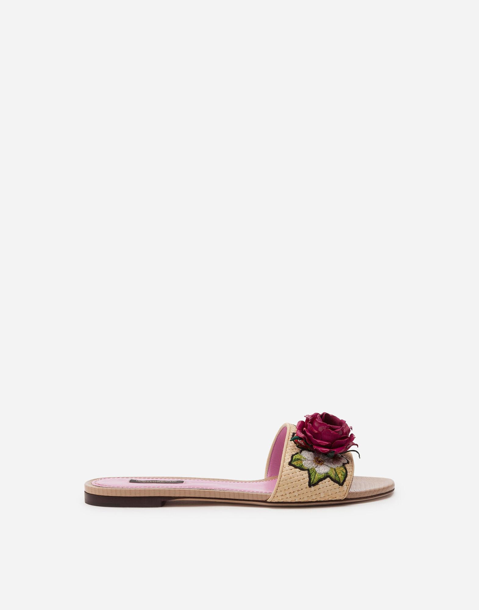 Braided raffia sliders with floral embroidery