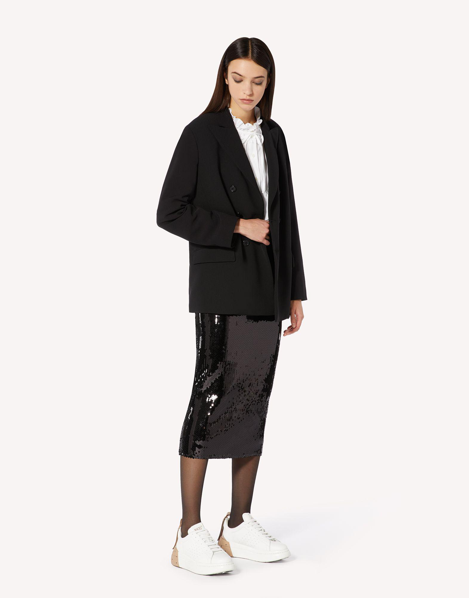 STRETCH CADY DOUBLE-BREASTED JACKET WITH PLEATED DETAIL 2