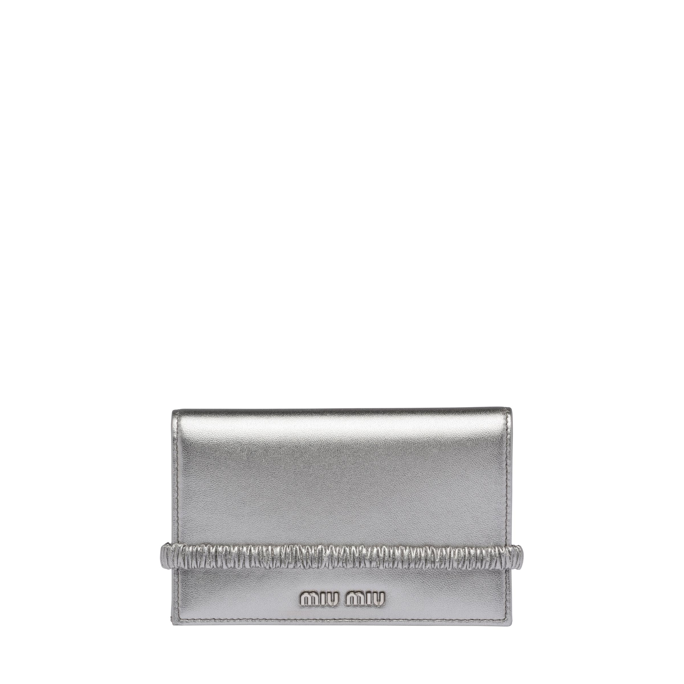Large Nappa Leather Wallet Women Chrome