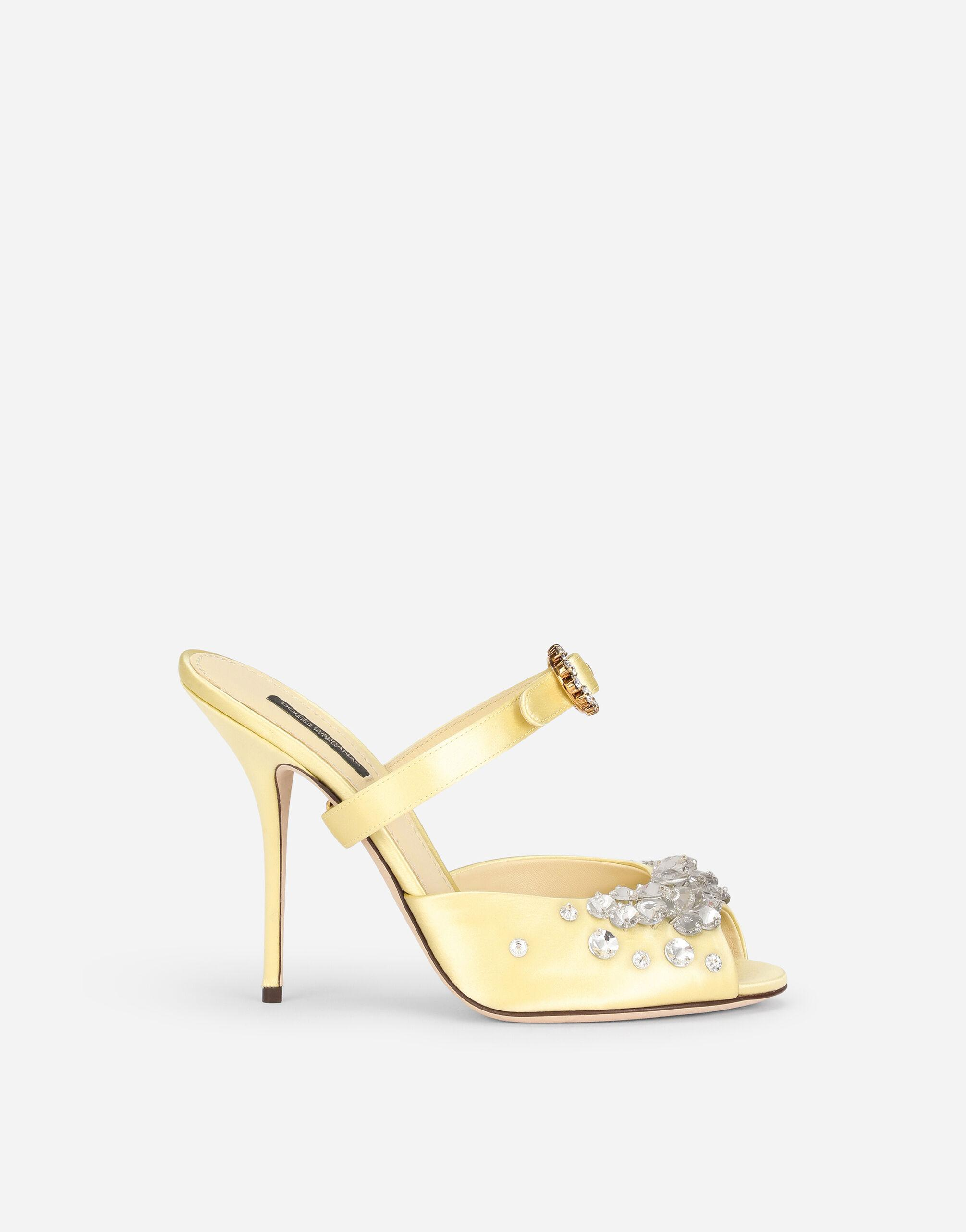 Satin mules with bejeweled embellishment