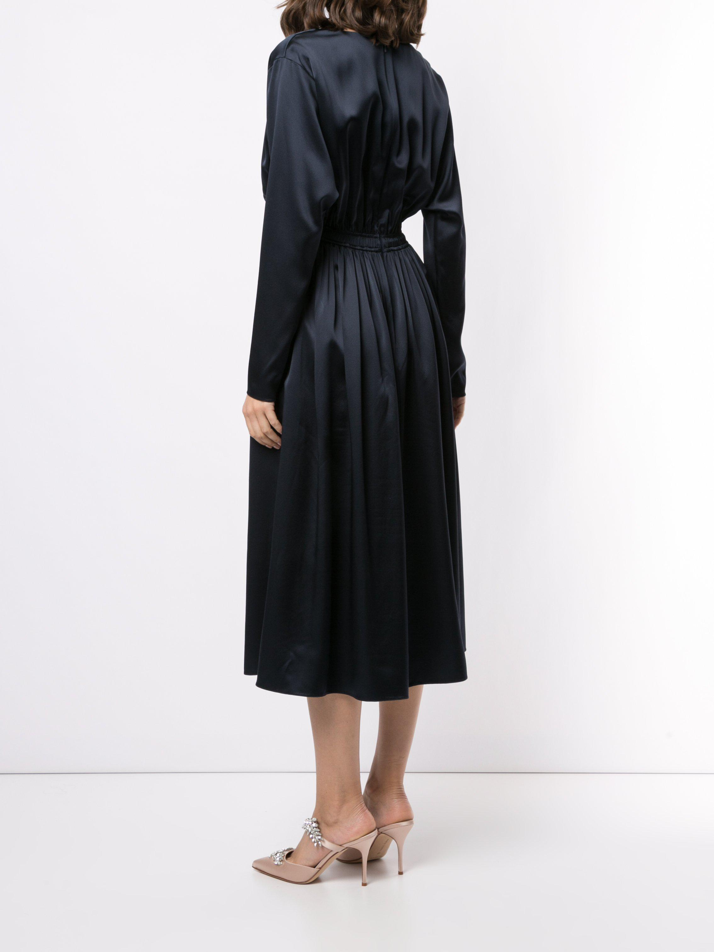 COWL NECK DRESS IN SILK CHARMEUSE 3