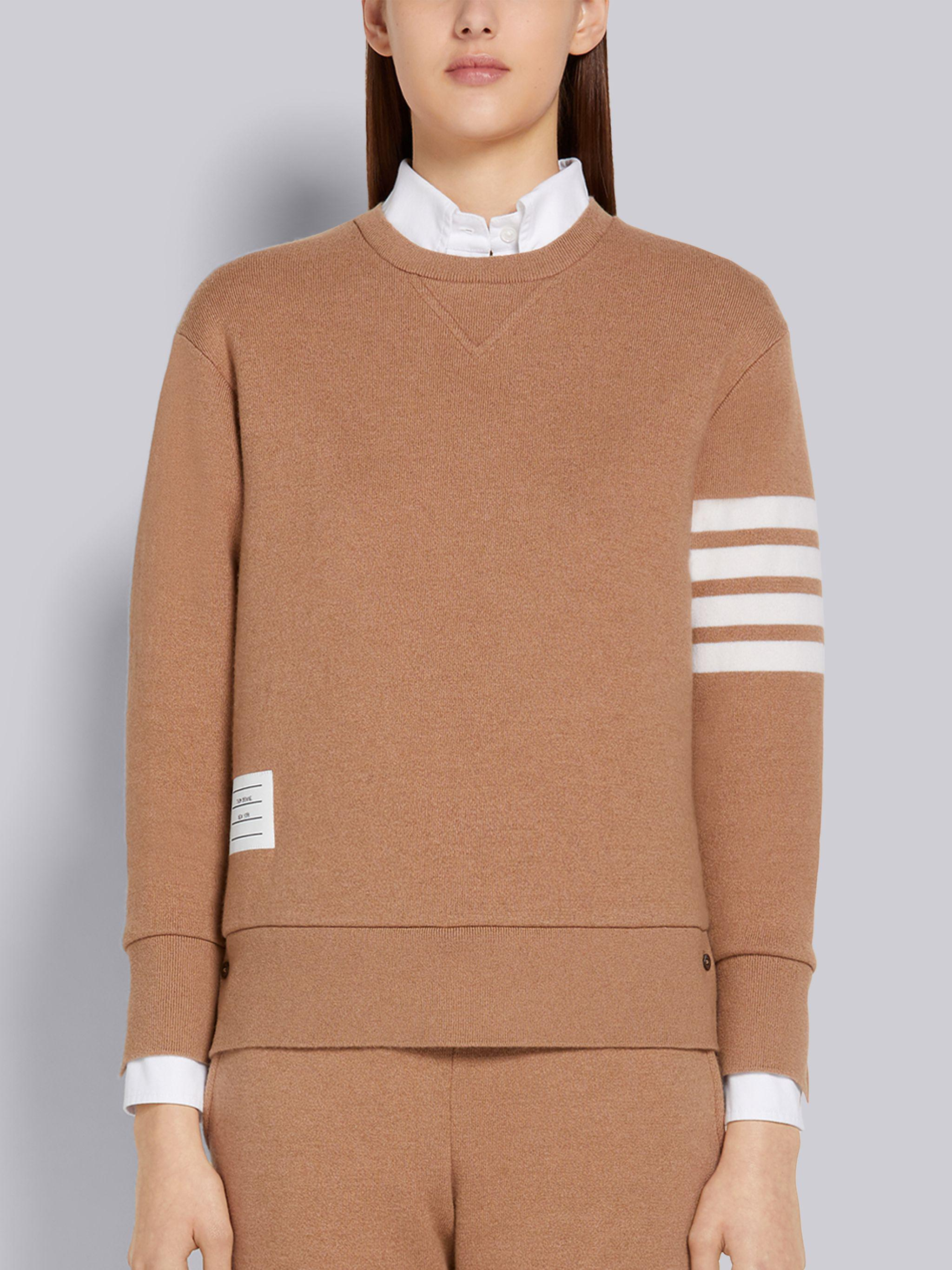 Camel Knitted Double Face Cashmere 4-Bar Relaxed Fit Crew Neck Pullover