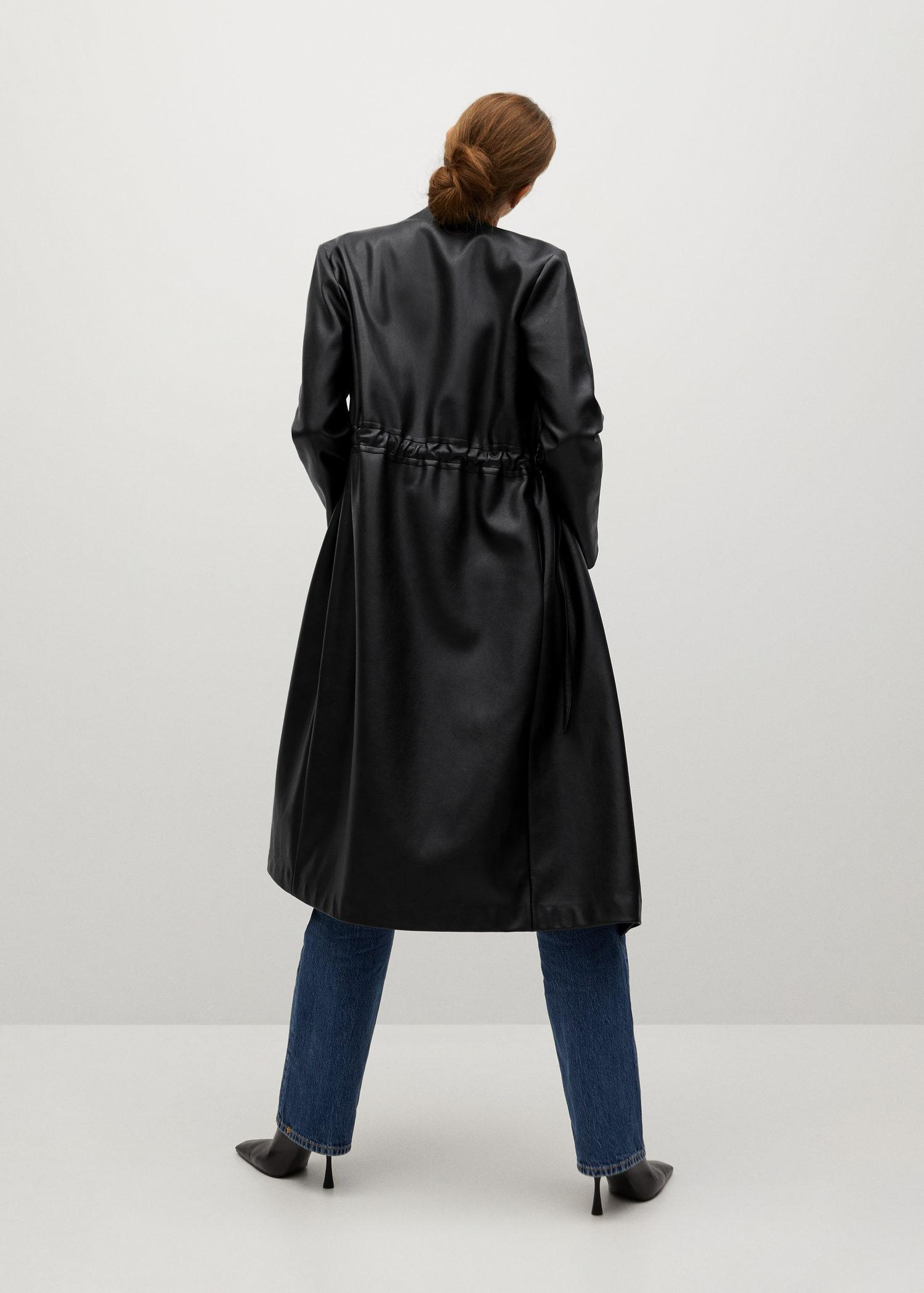 Leather-effect coat with belt 2