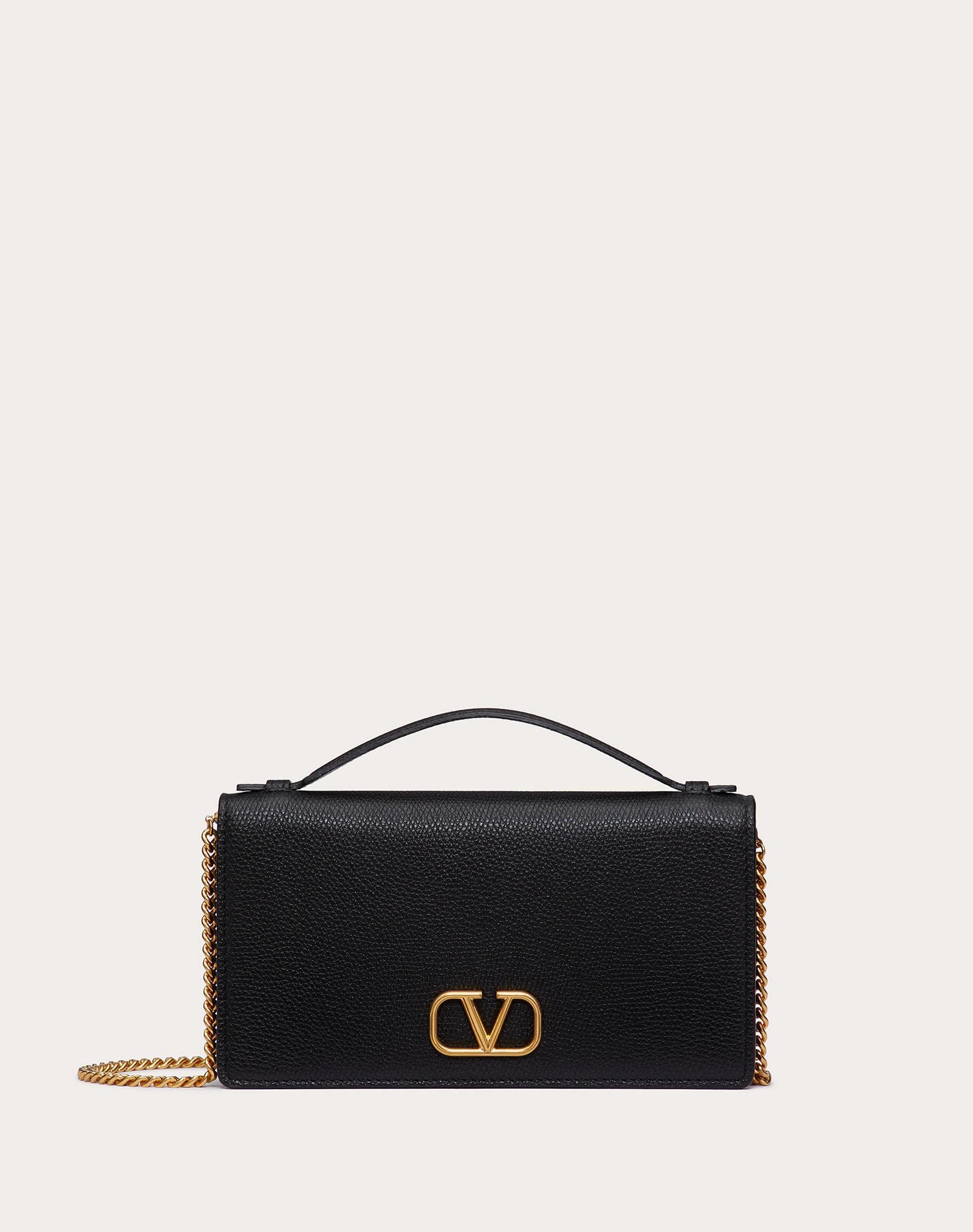 VLOGO SIGNATURE GRAINY CALFSKIN WALLET WITH CHAIN