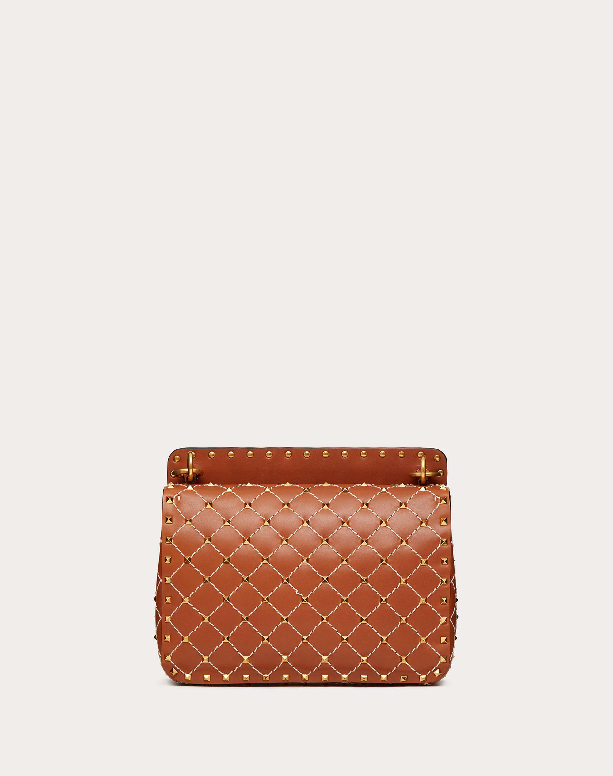 Medium Spike.It Nappa Bag with Leather Grid Detailing 2