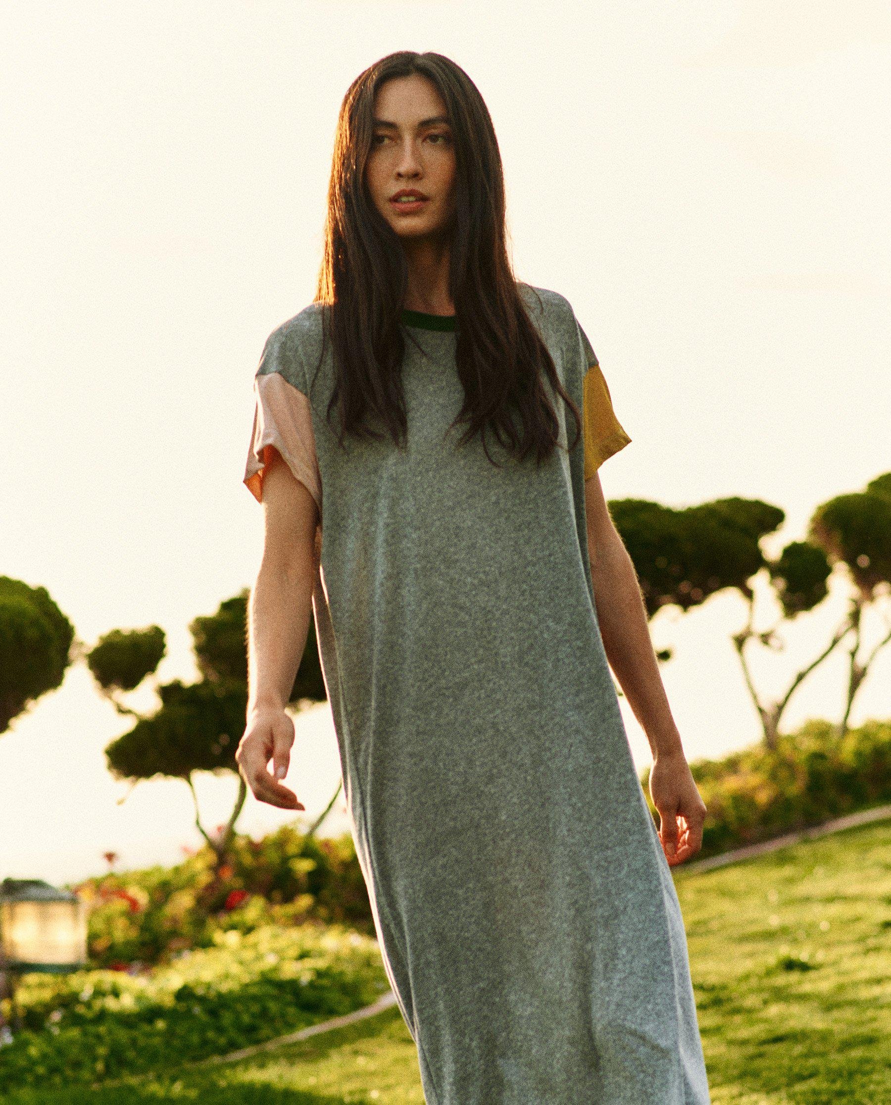 The Boxy Dress. -- Heather Grey with Multi Color Block