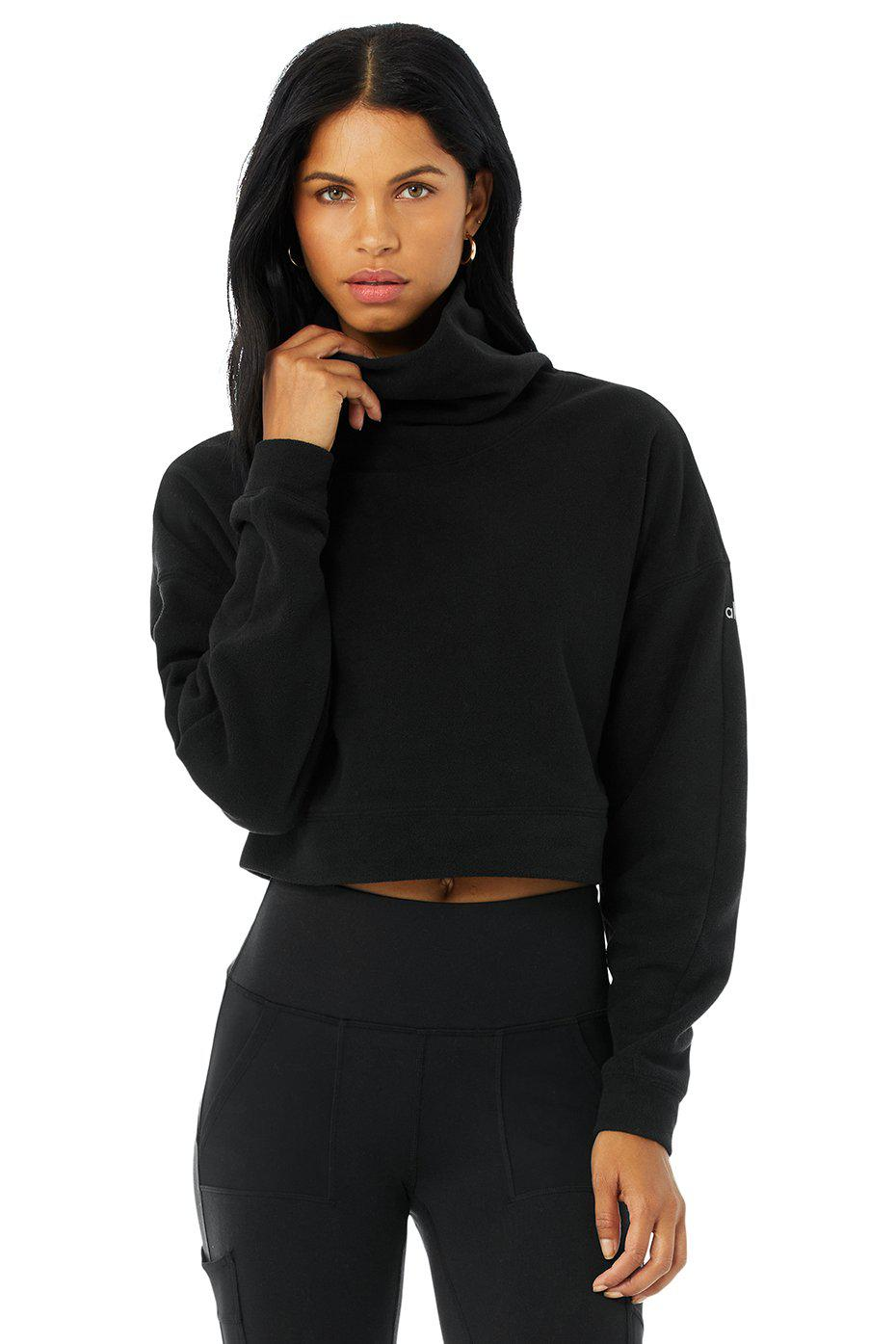 Cropped Warm Up Pullover - Black