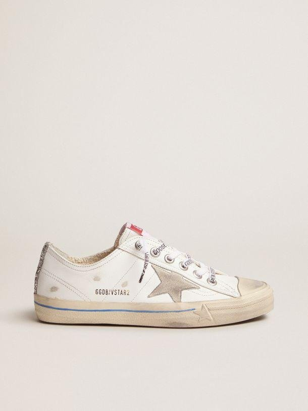 White leather V-Star sneakers with glittery vertical strip