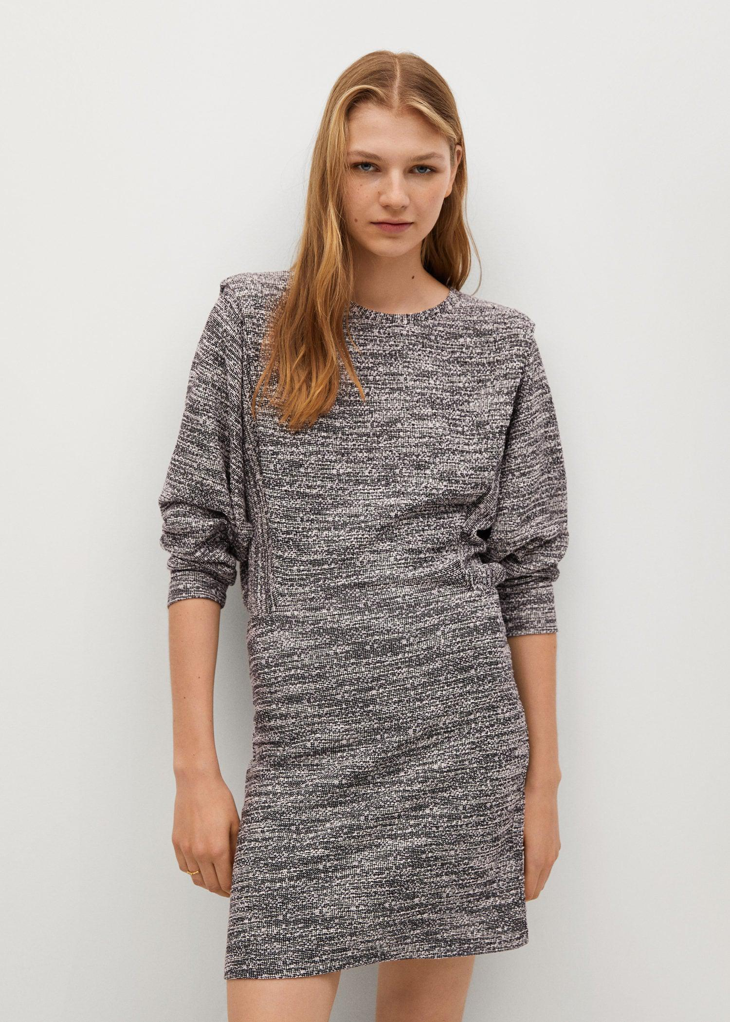Textured dress with shoulder pads