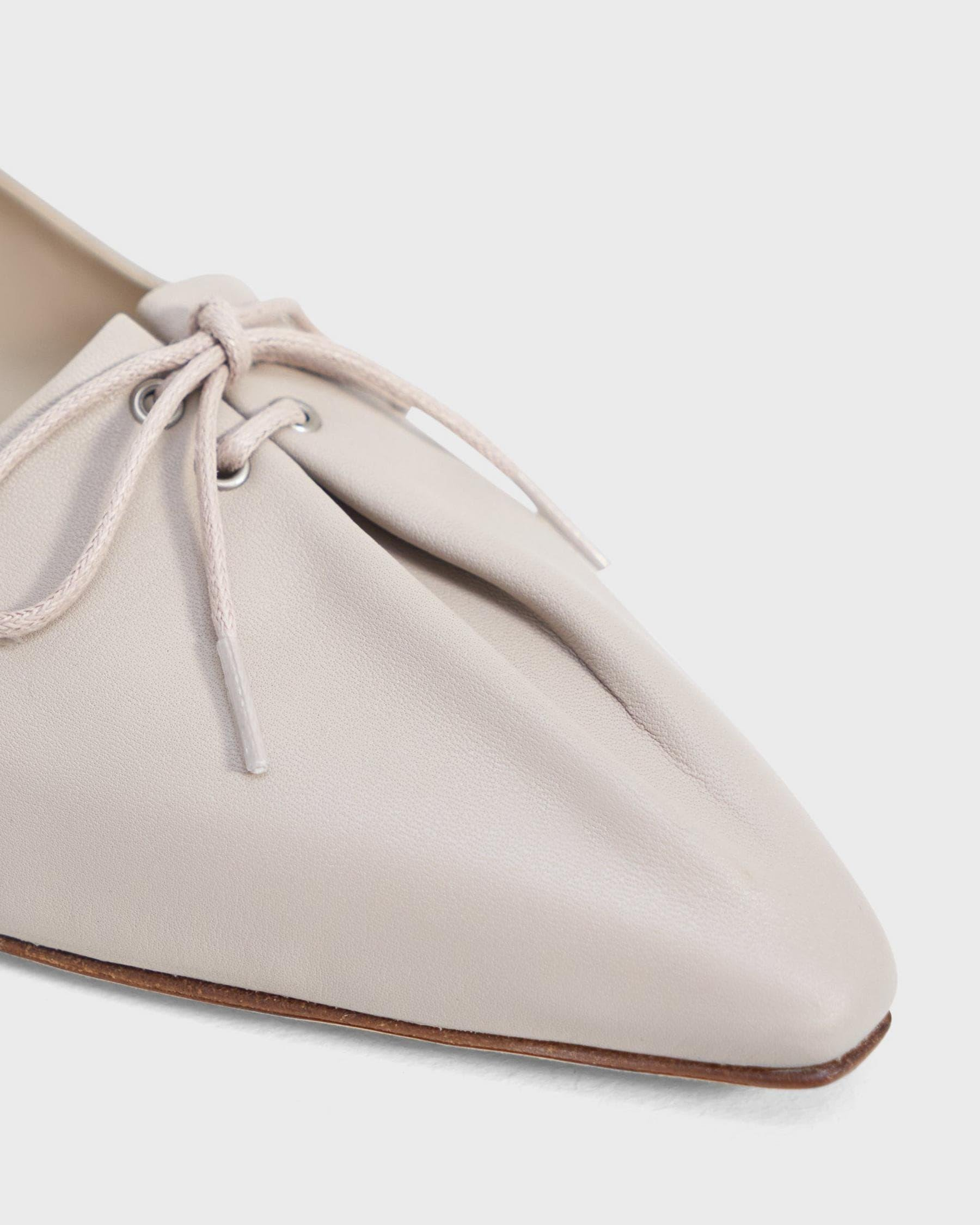 Pleated Ballet Flat in Leather 5