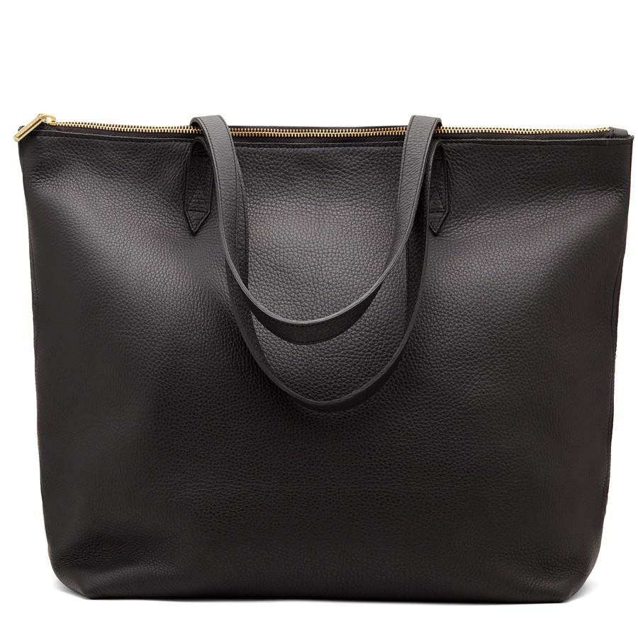 Women's Classic Leather Zipper Tote Bag in Black | Pebbled Leather by Cuyana