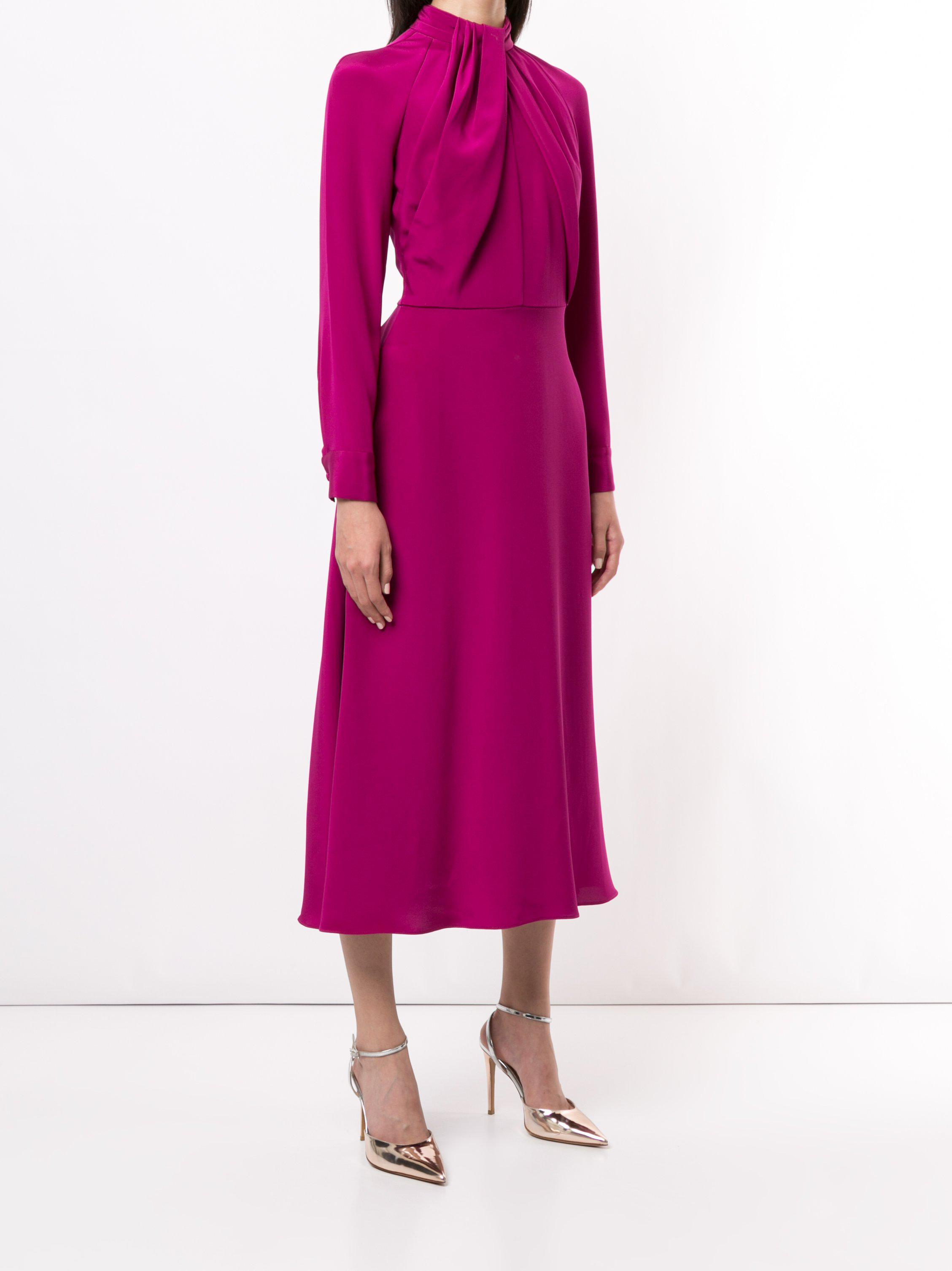 LONG SLEEVE DRESS WITH NECK TWIST IN SILK CREPE 2