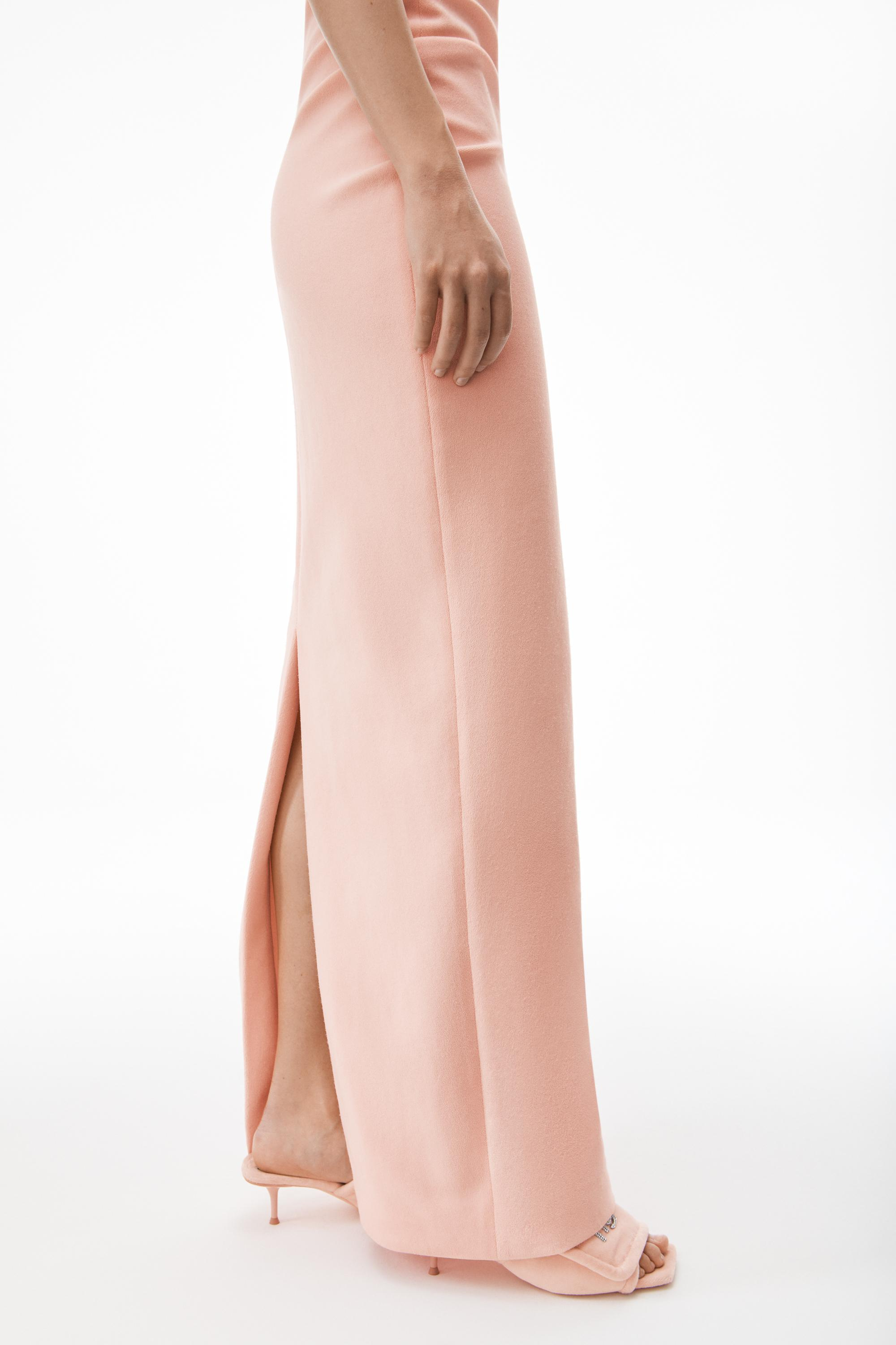strapless column dress in ruched velour 3